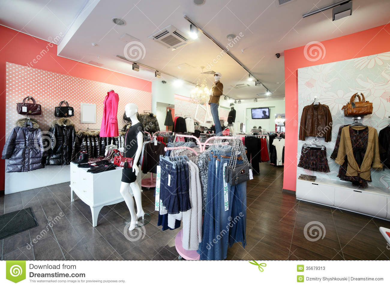 European clothing store with huge collection Stock Photo