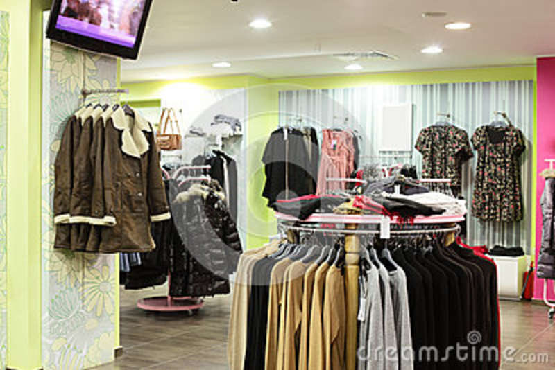 european clothing store with collection stock
