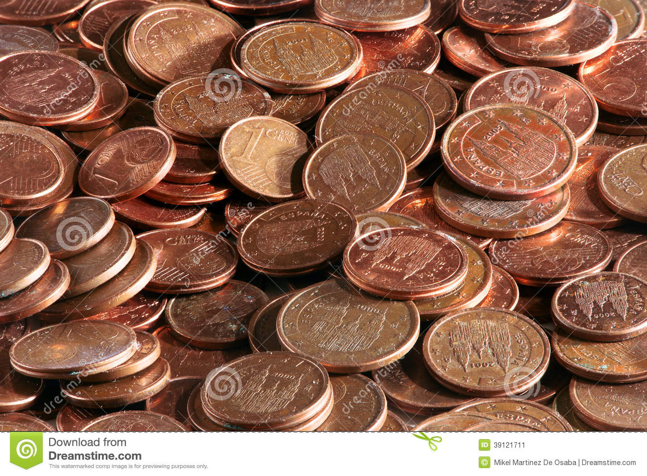 Background Of European Coins With Cents Of Euro