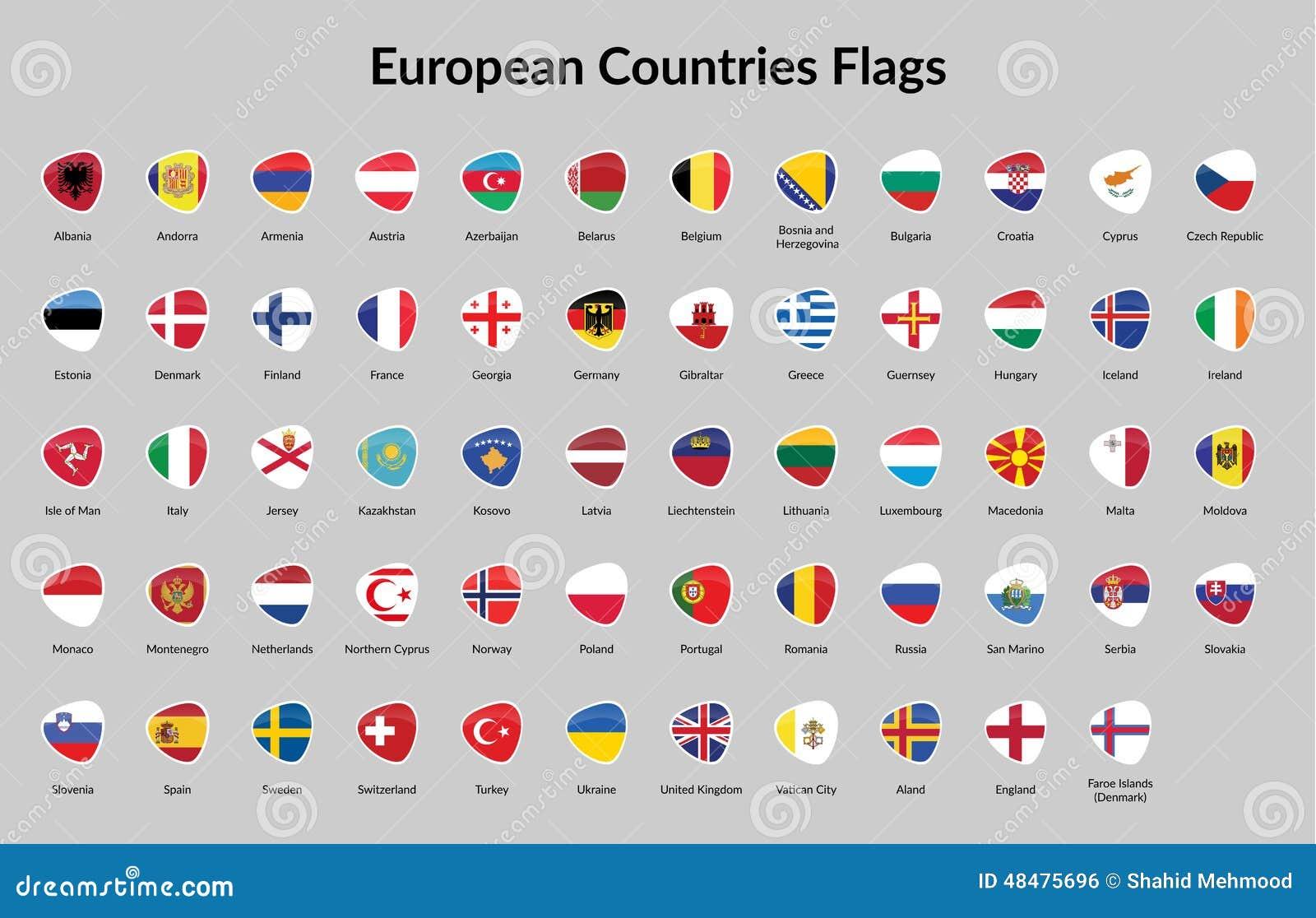European Countries Flag Stock Vector Image 48475696