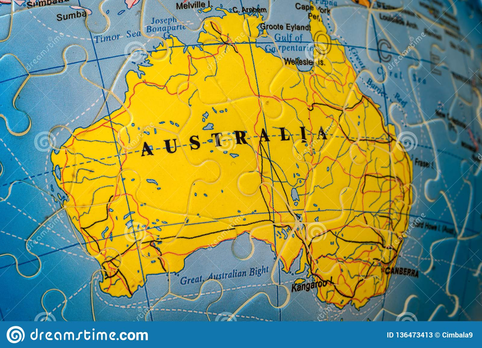 Australia Global Map.Puzzle Map Of Australia Stock Image Image Of Global 136473413