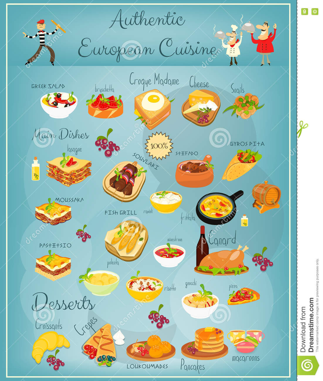 European cuisine menu stock vector image of pancakes for Cuisine restaurant