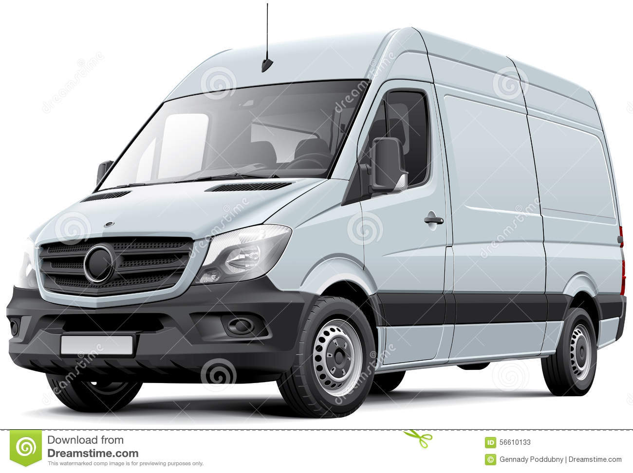 European Delivery Van Stock Vector - Image: 56610133