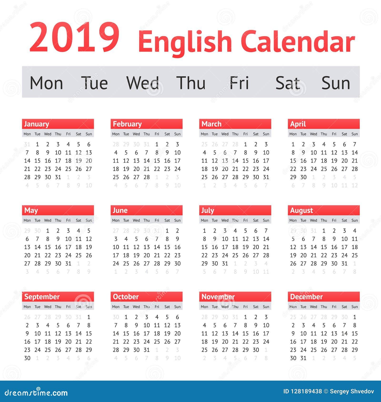 Calendario 2019 English.2019 European English Calendar Stock Vector Illustration