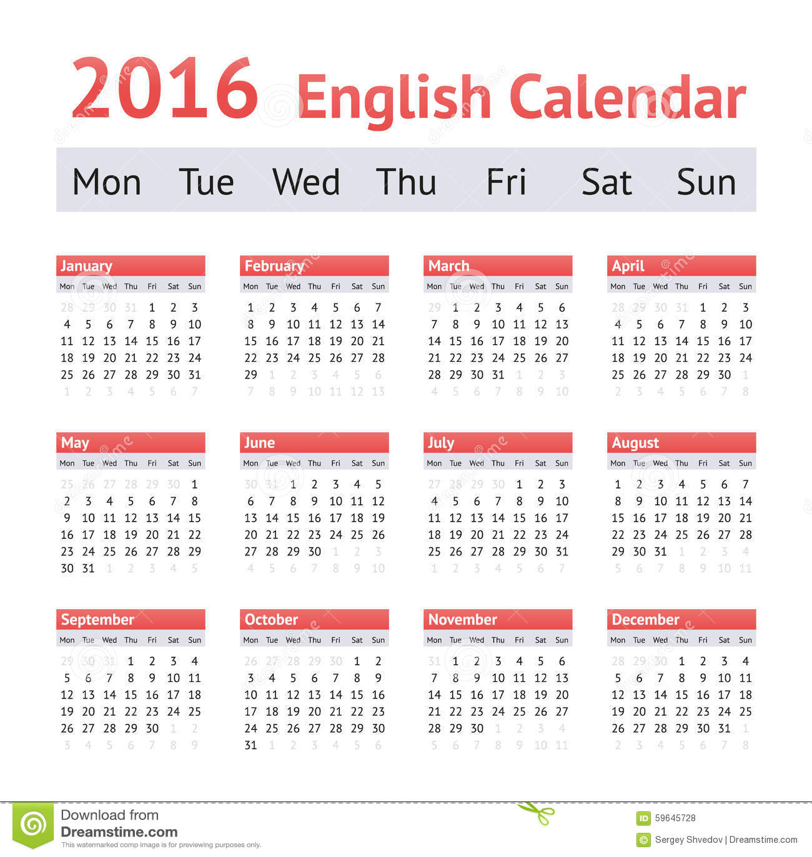 2016 European English Calendar. Week Starts On Monday ...