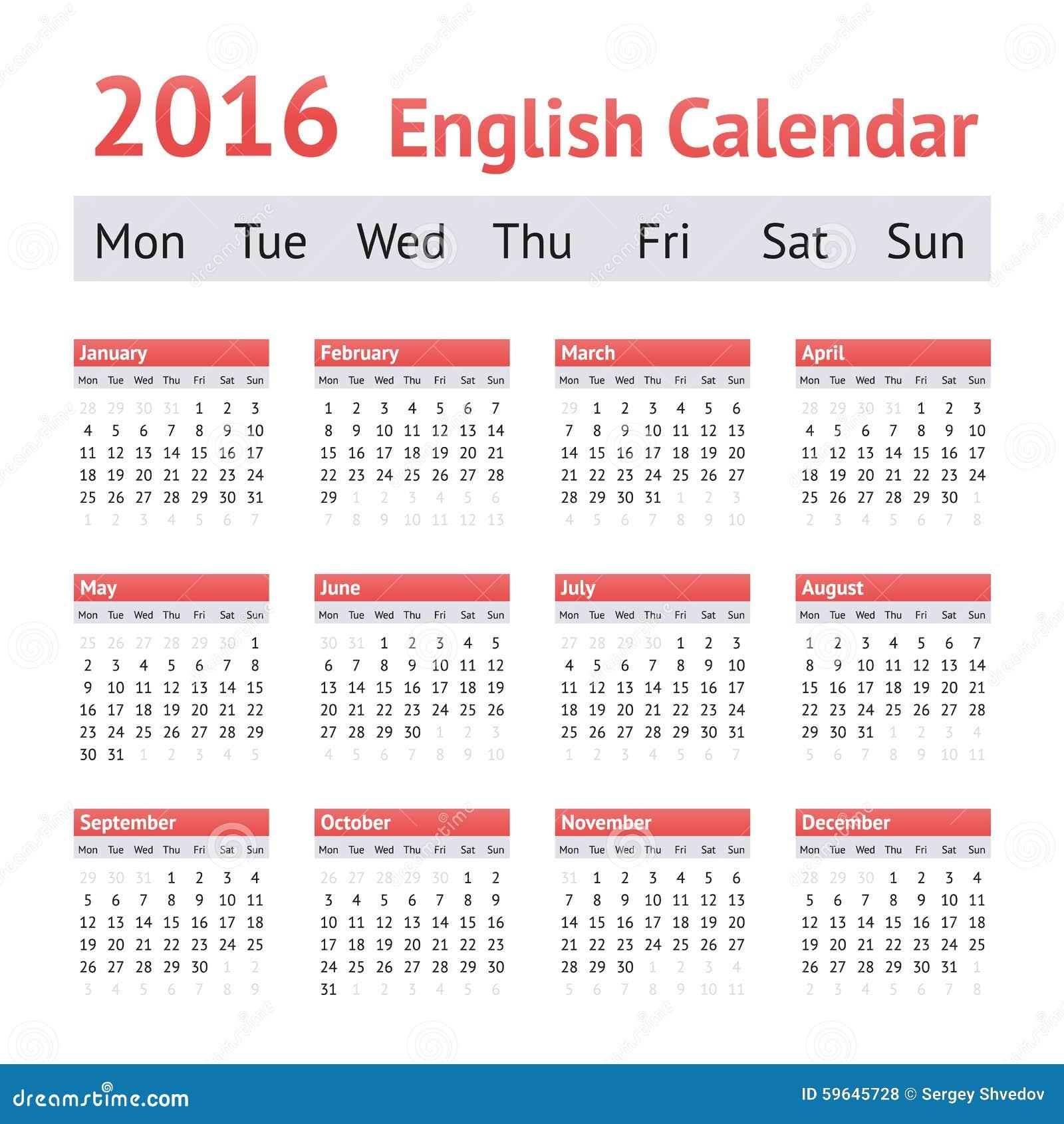 2016 European English Calendar. Week Starts On Monday Stock Vector ...