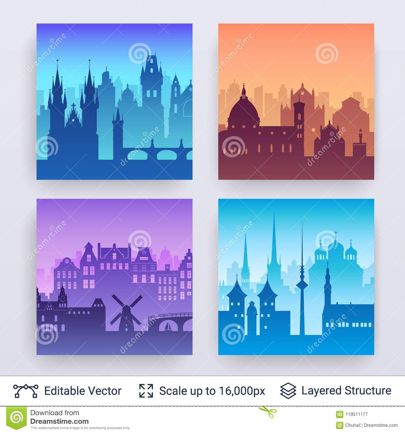 european famous city scapes set stock vector illustration of