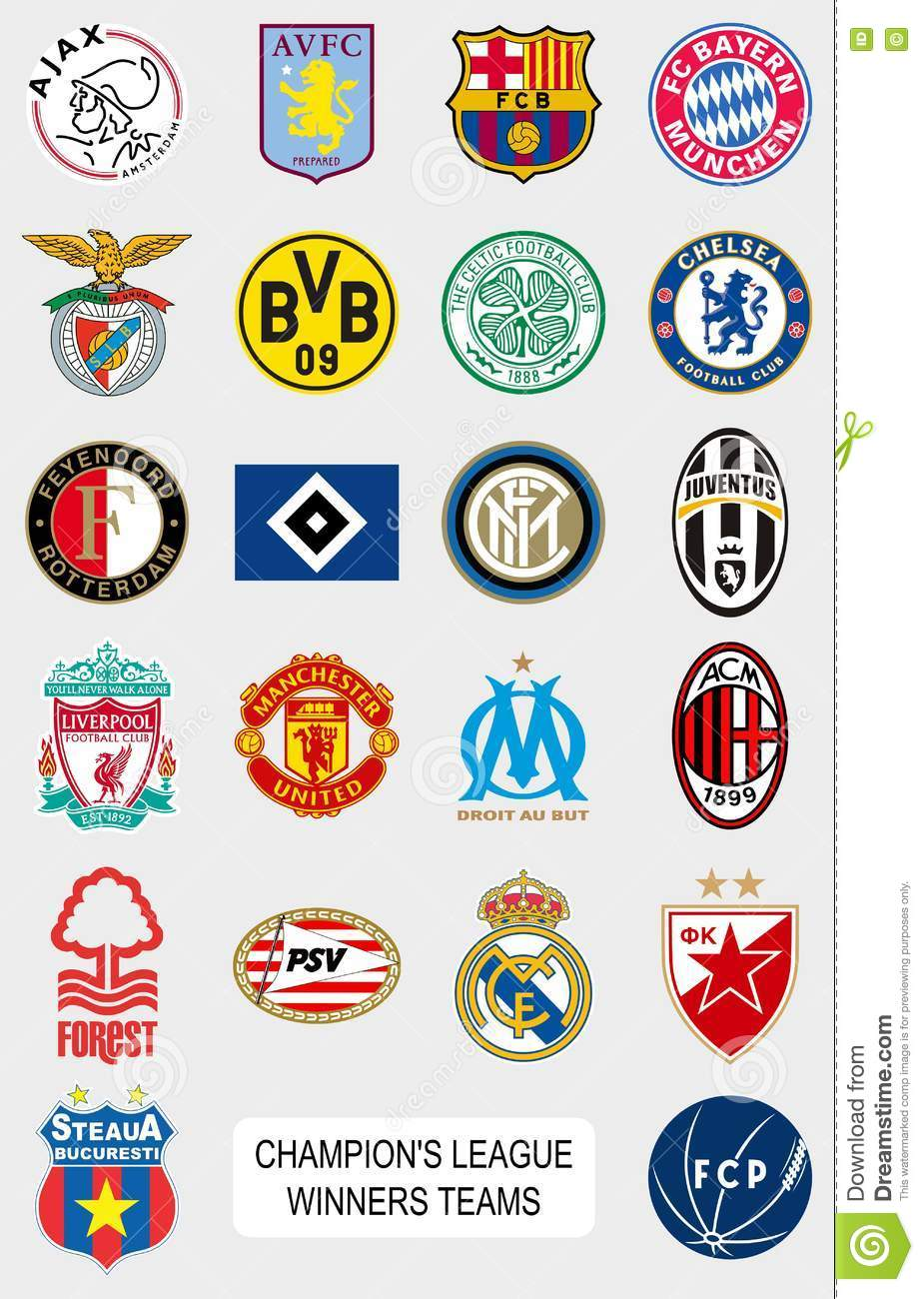 European Football Teams Logos Editorial Photography Illustration