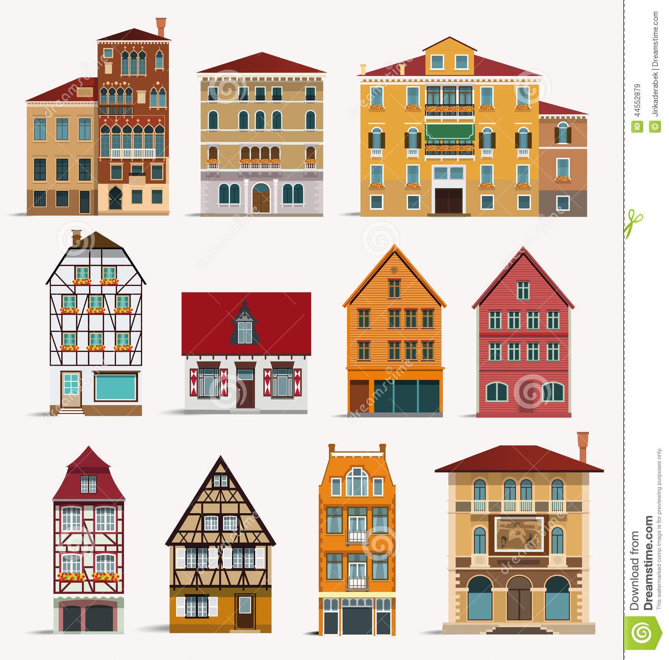 Unique European House Plans European Houses Stock Vector Image 44552879