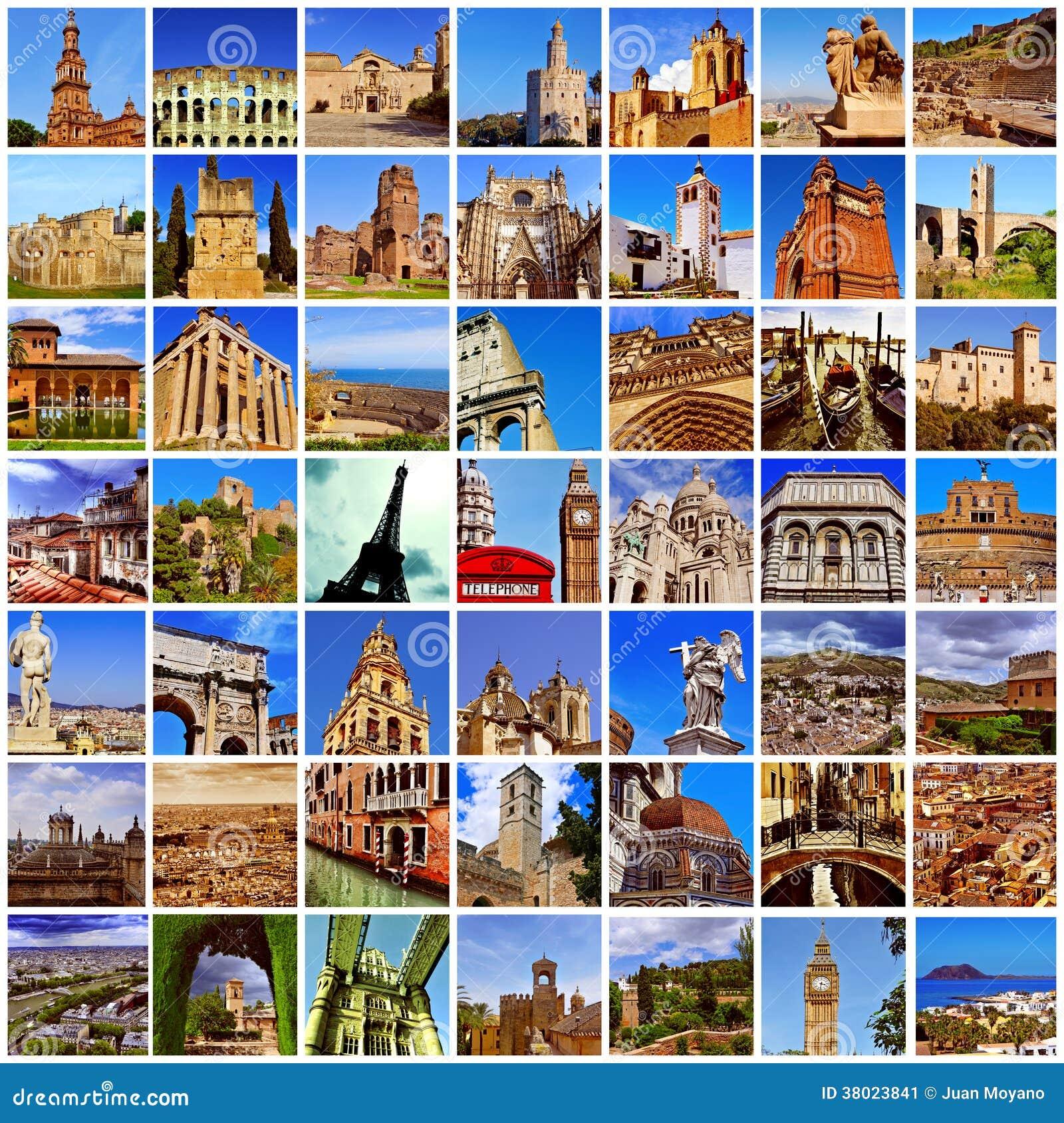 European Landmarks Collage Stock Image Image 38023841