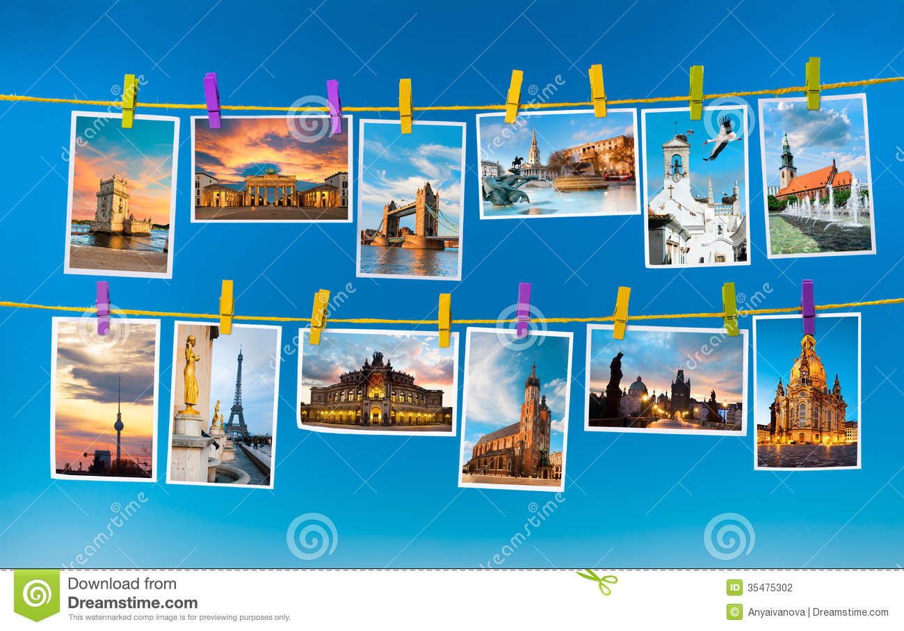 Collage with postcards of european landmarks on blue background.