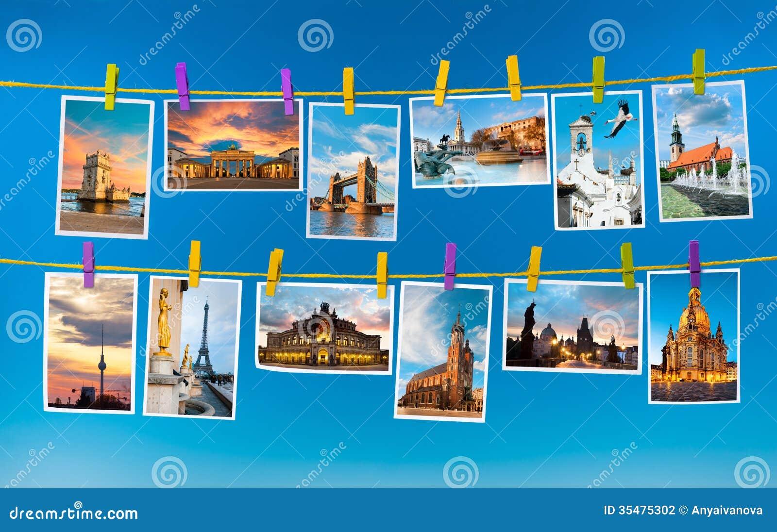 European Landmarks, Collage Stock Photography - Image ...