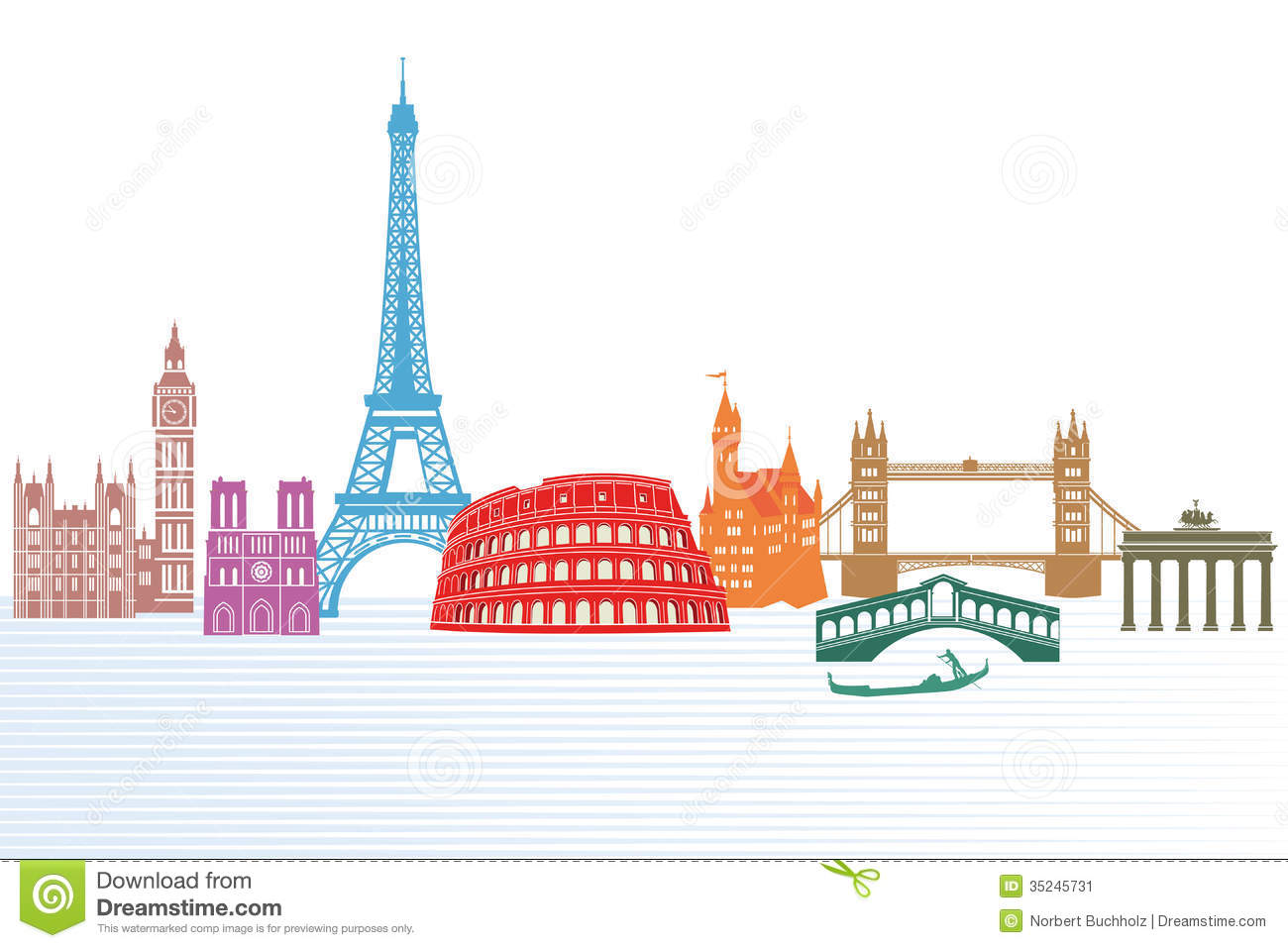 Illustrated set of landmarks from different European countries with ...