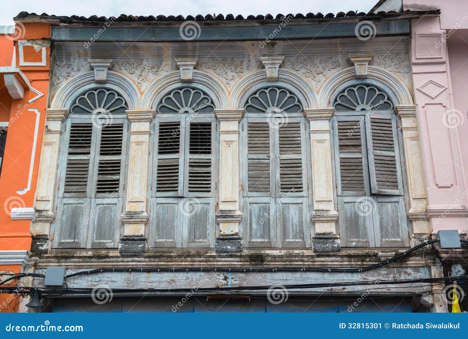 The European Retro Style Old Windows Stock Image Image