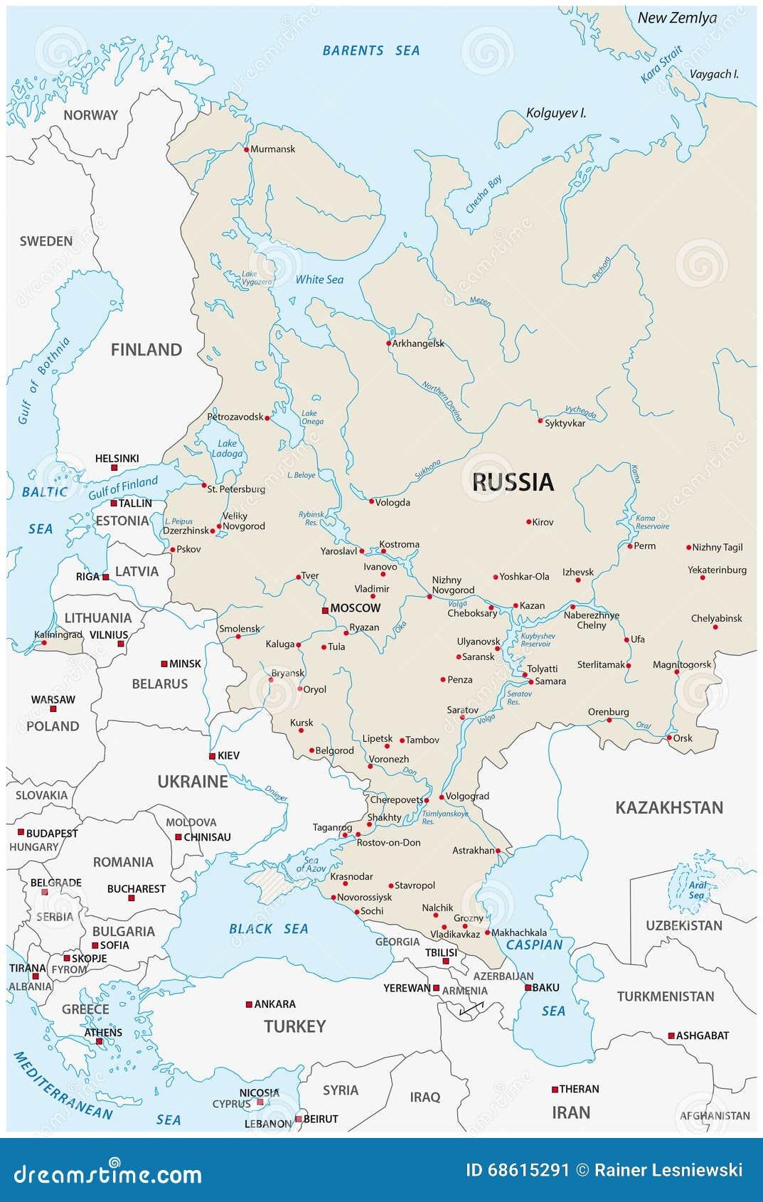 European russia map stock illustration. Illustration of ladoga ...