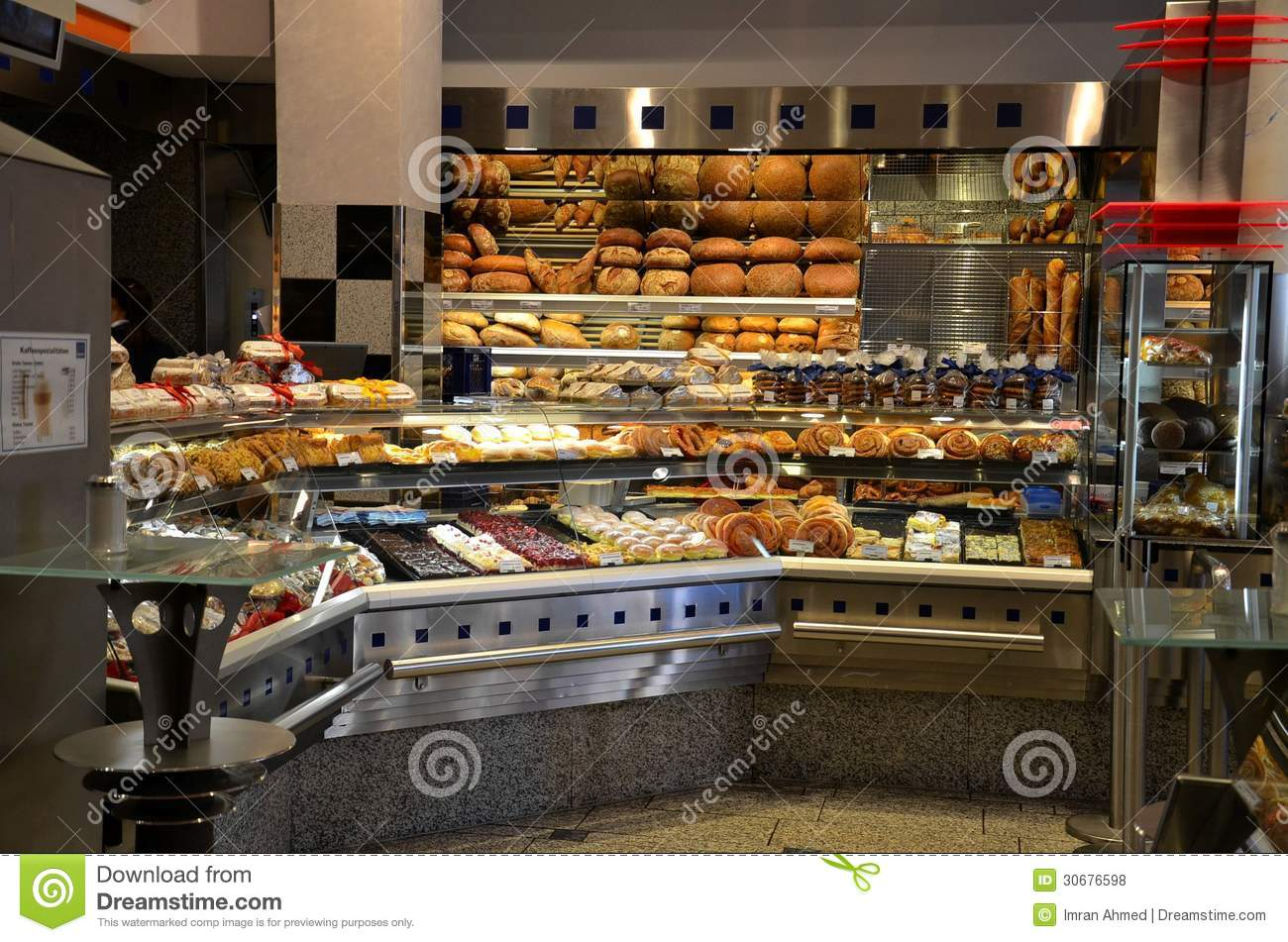 European Style Bakery And Pattisserie With Breads And