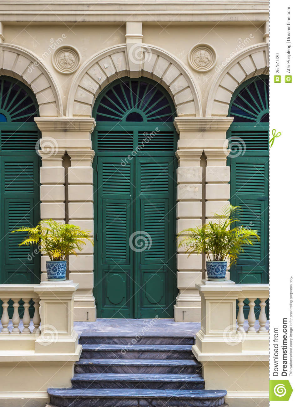 European Style Green Door Of Old Building Stock Photo