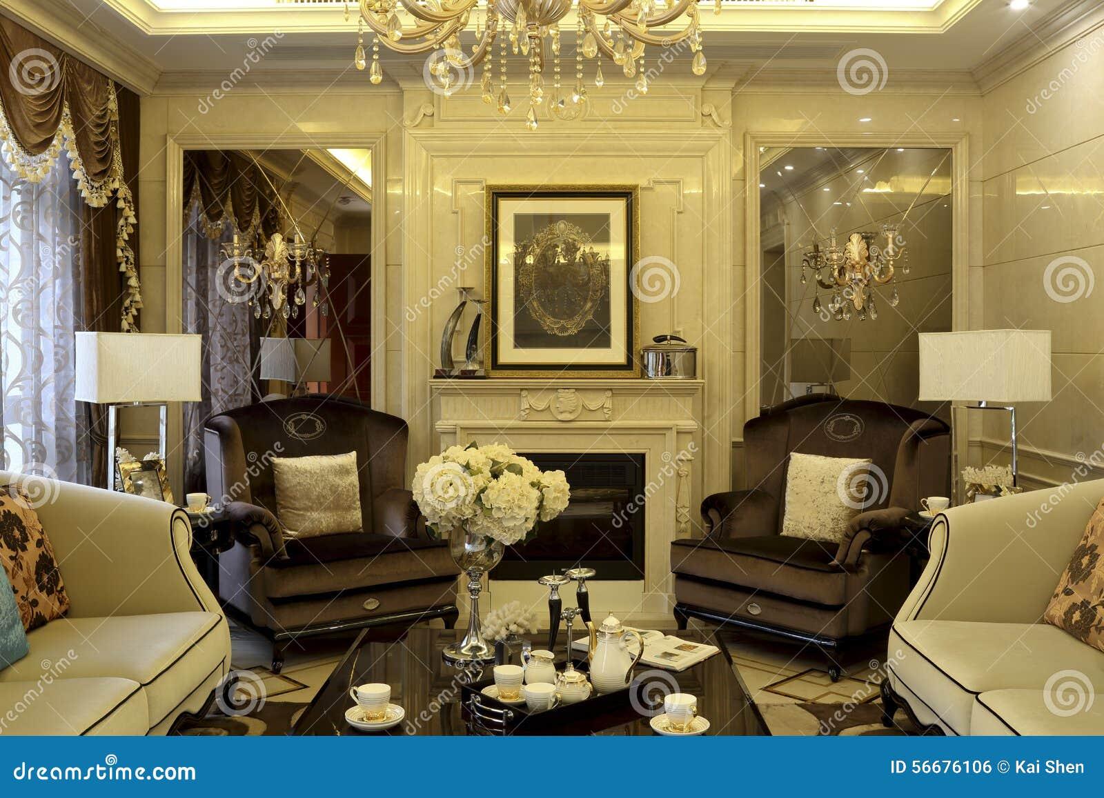 European Style Luxury Living Room Stock Photo Image 56676106