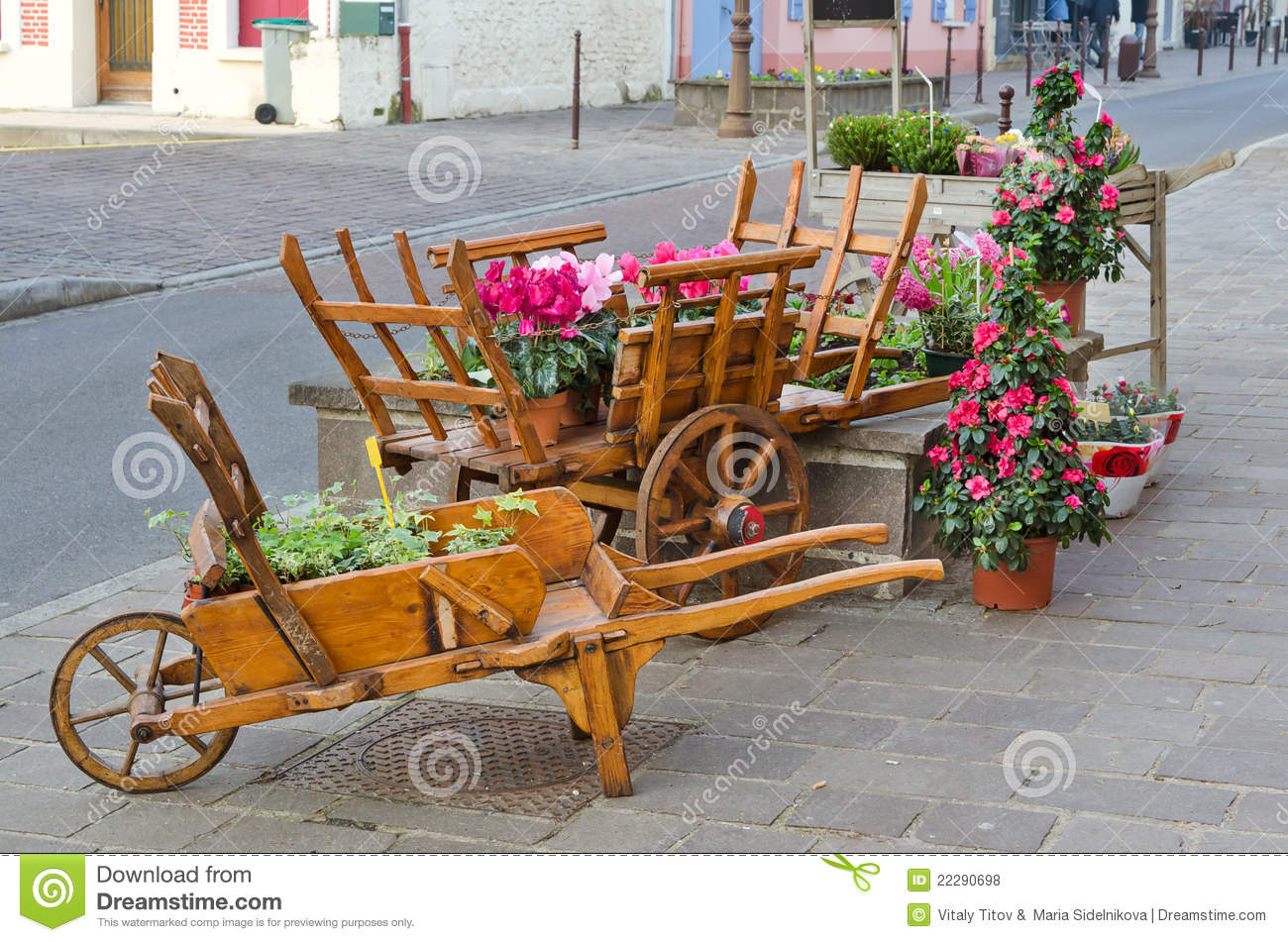 European Town Street With Wooden Flower Pot Stock Photo