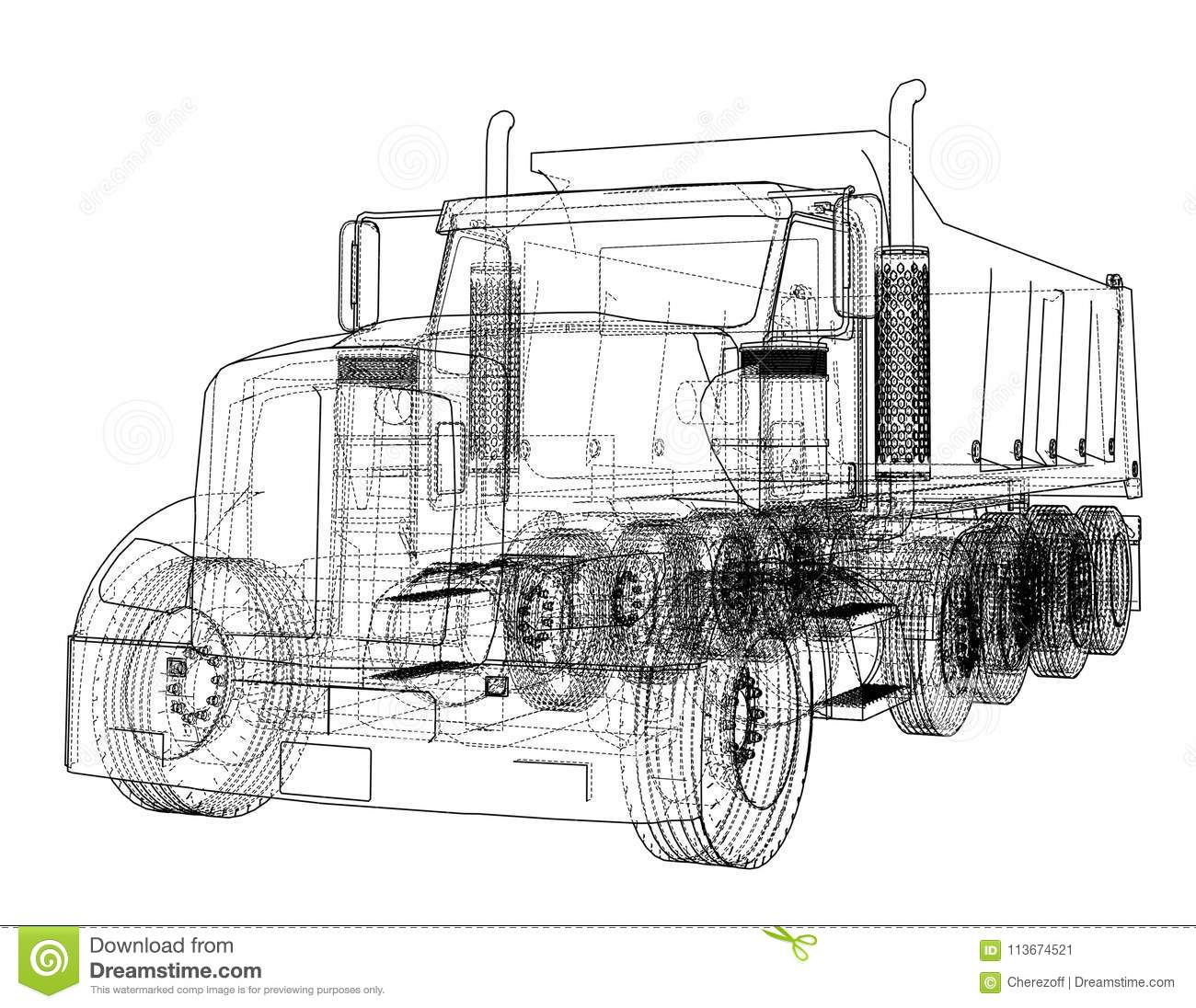 European truck outlined stock illustration illustration of industry royalty free illustration malvernweather Choice Image