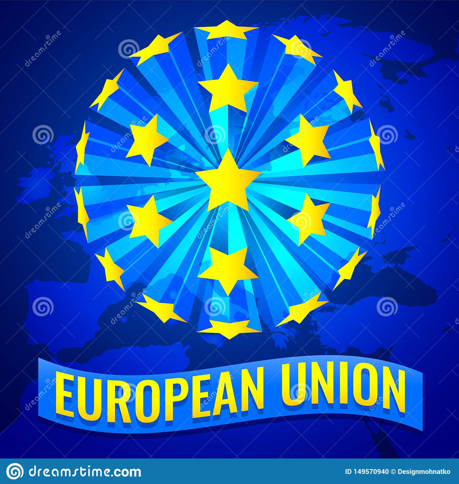 European Union Banner Vector illustration with Europe map