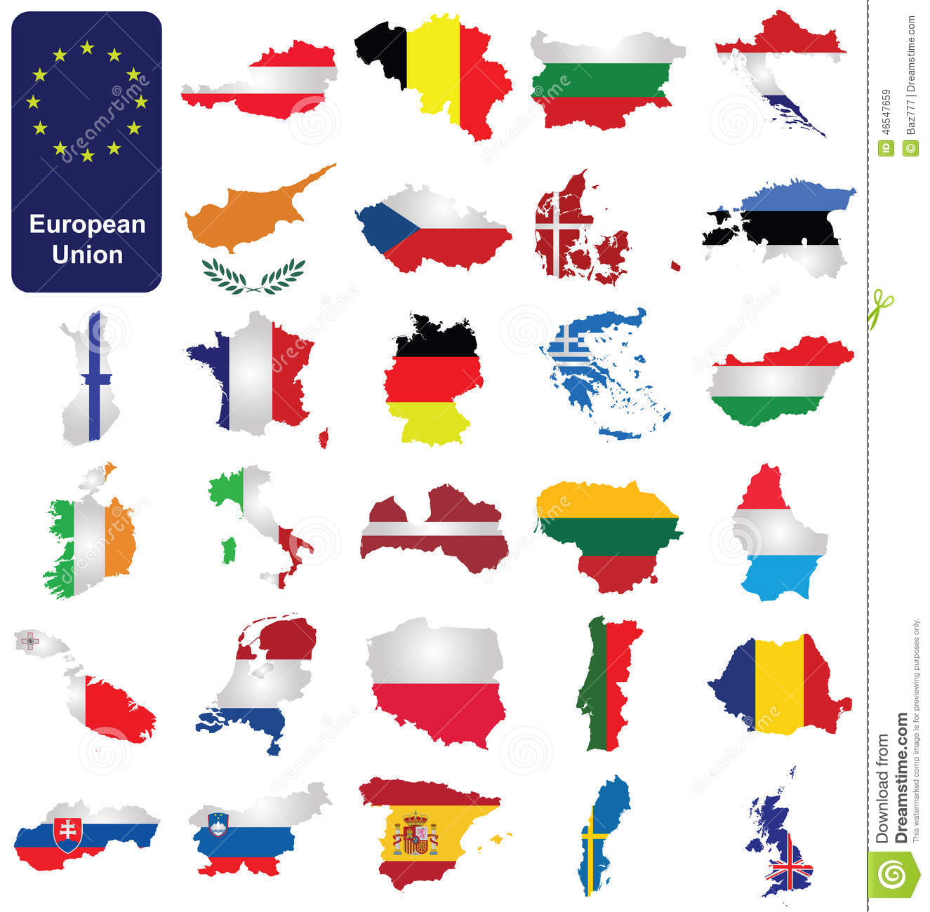 European Union Countries Stock Vector Illustration Of Background