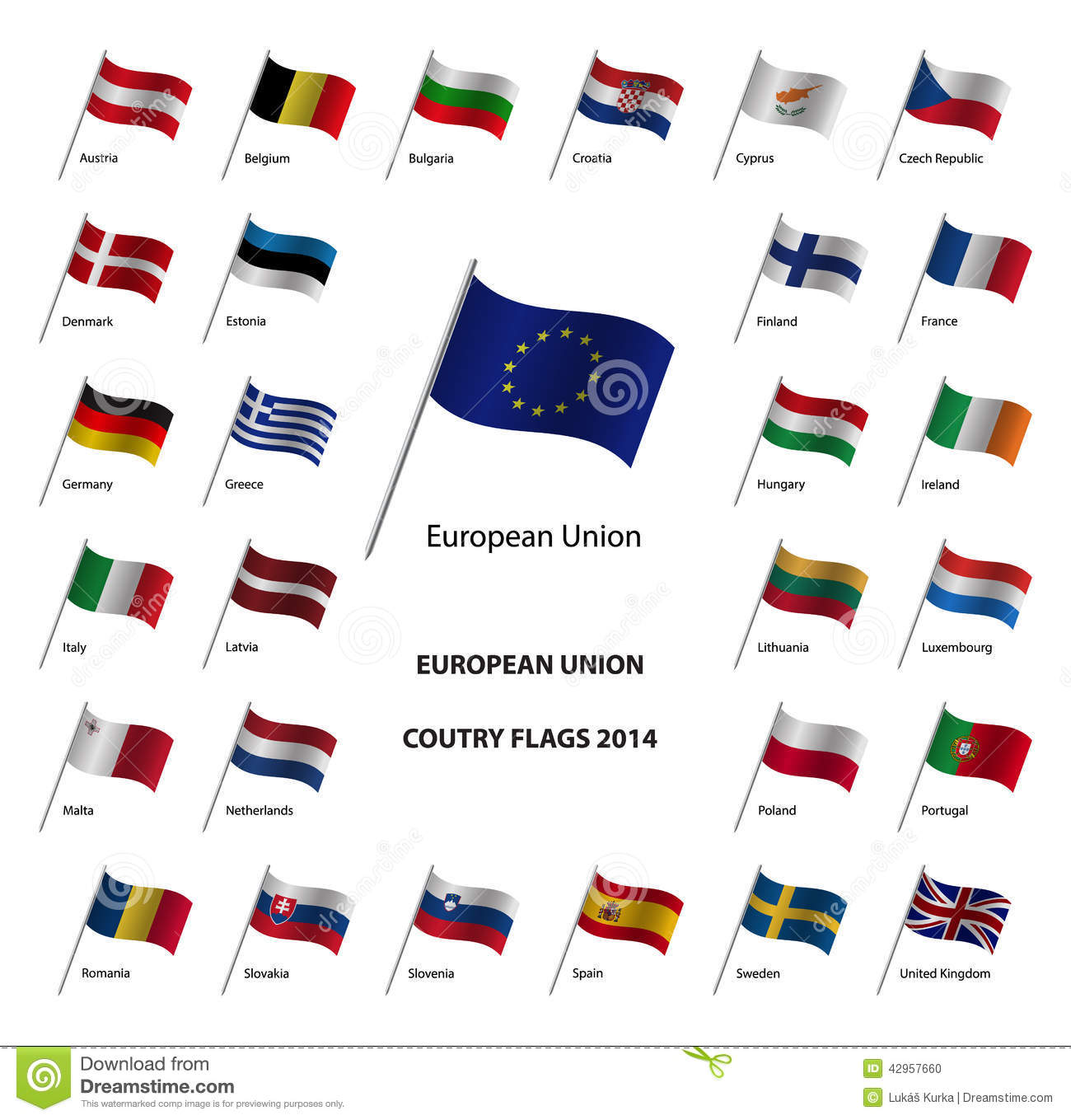 European Union Country Flags 2014 Stock Vector Illustration Of