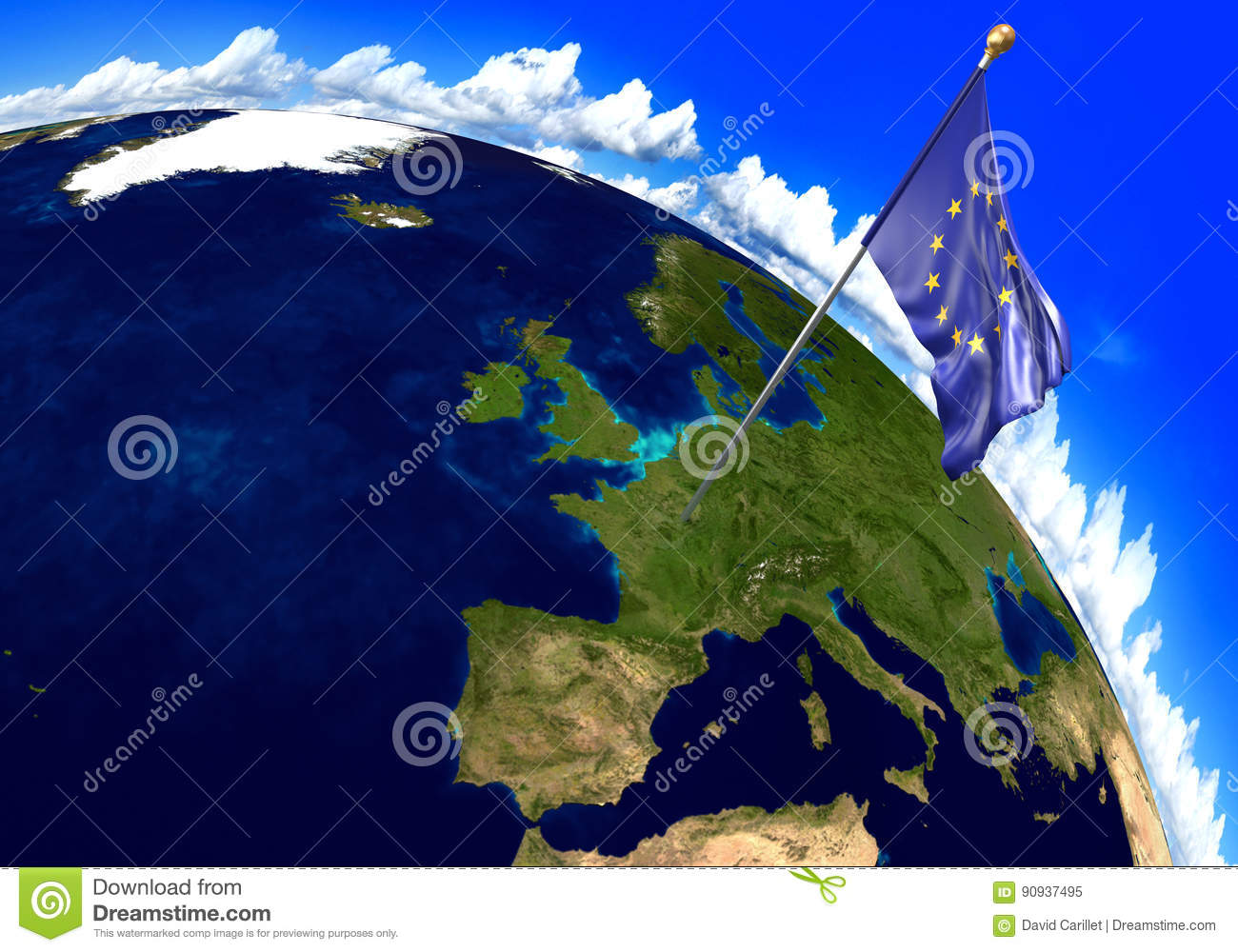 European Union Flag Marking The Location Of Europe On World Map. 3D ...