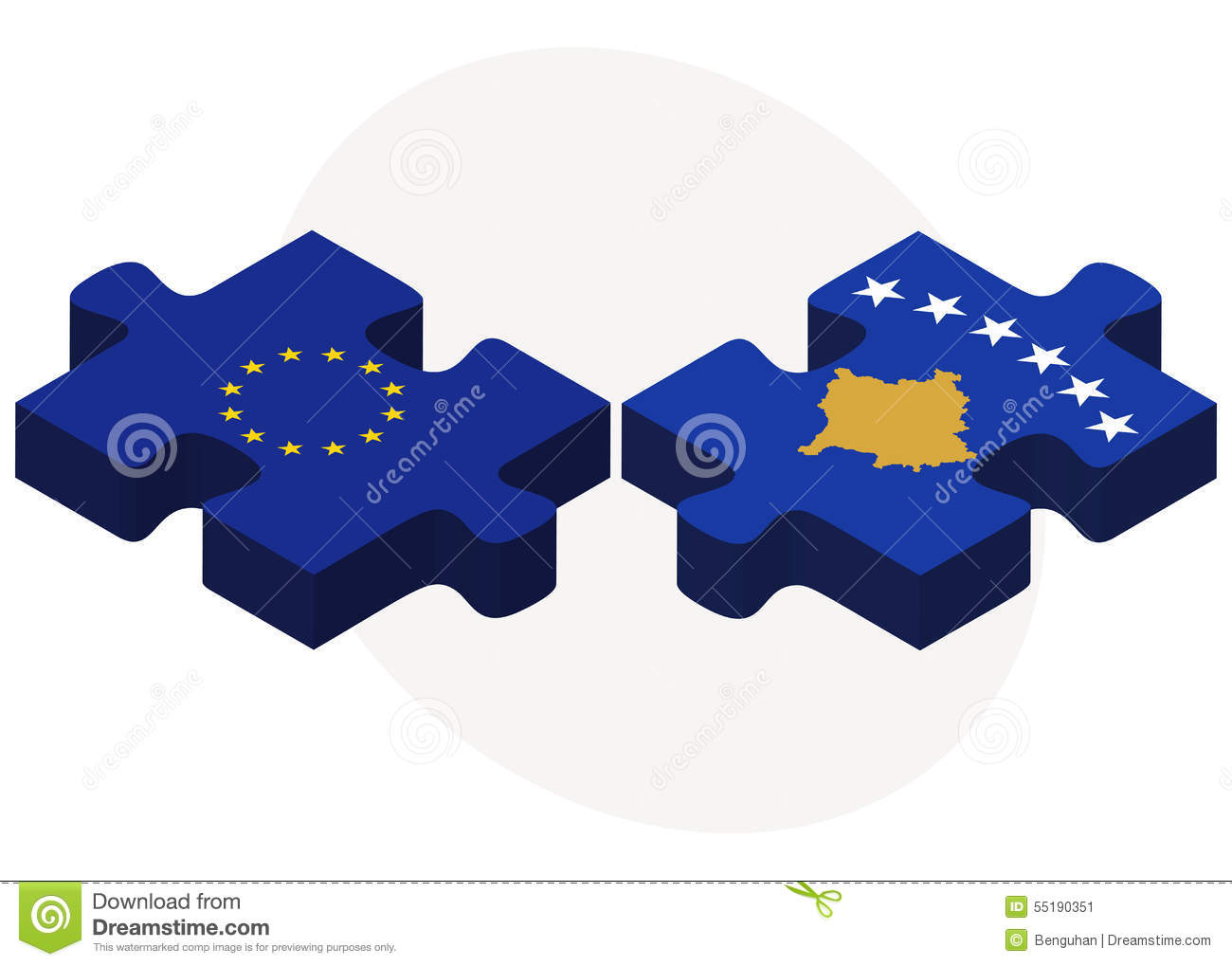 European Union And Kosovo Flags In Puzzle Stock Image Image Of