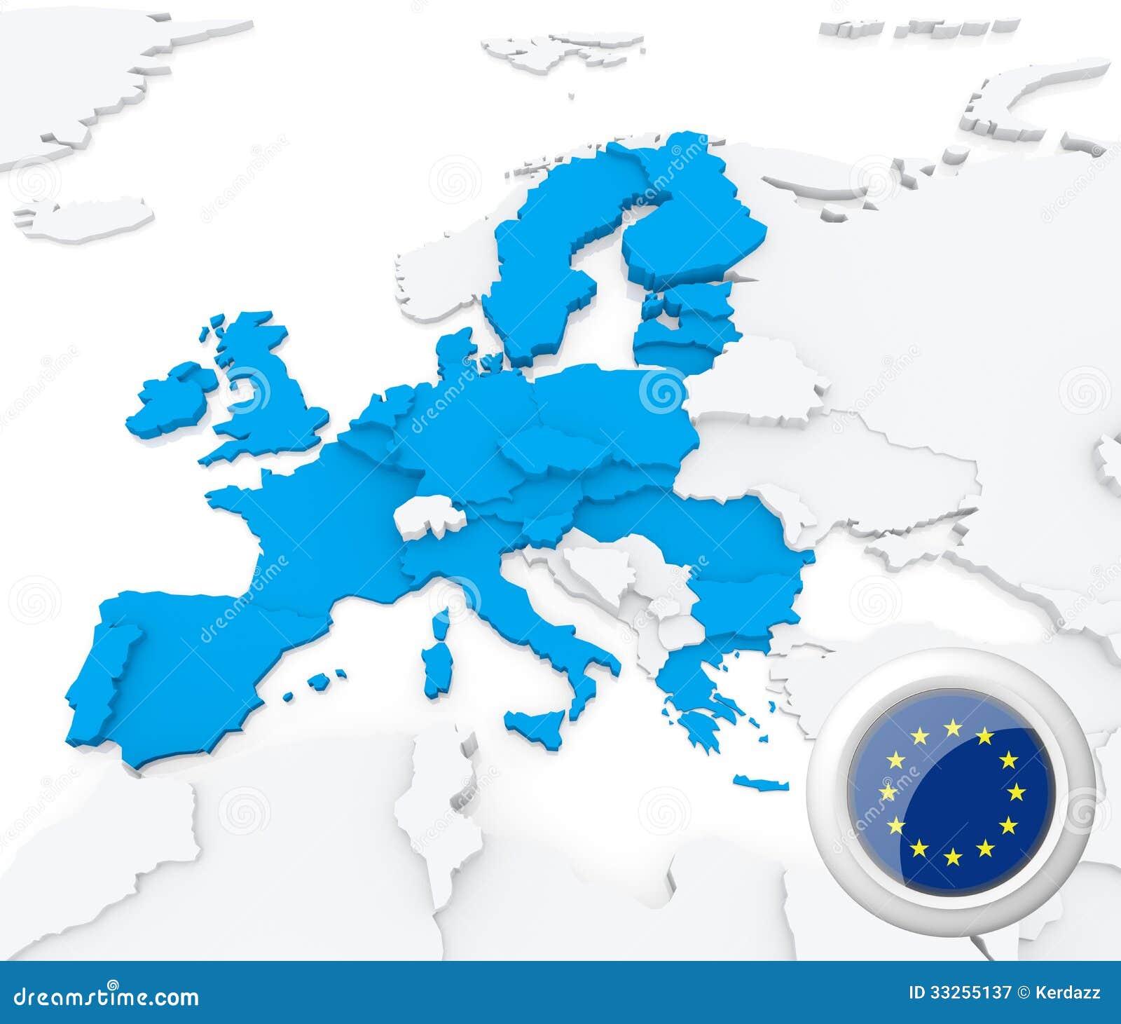 European Union On Map Of Europe Stock Illustration