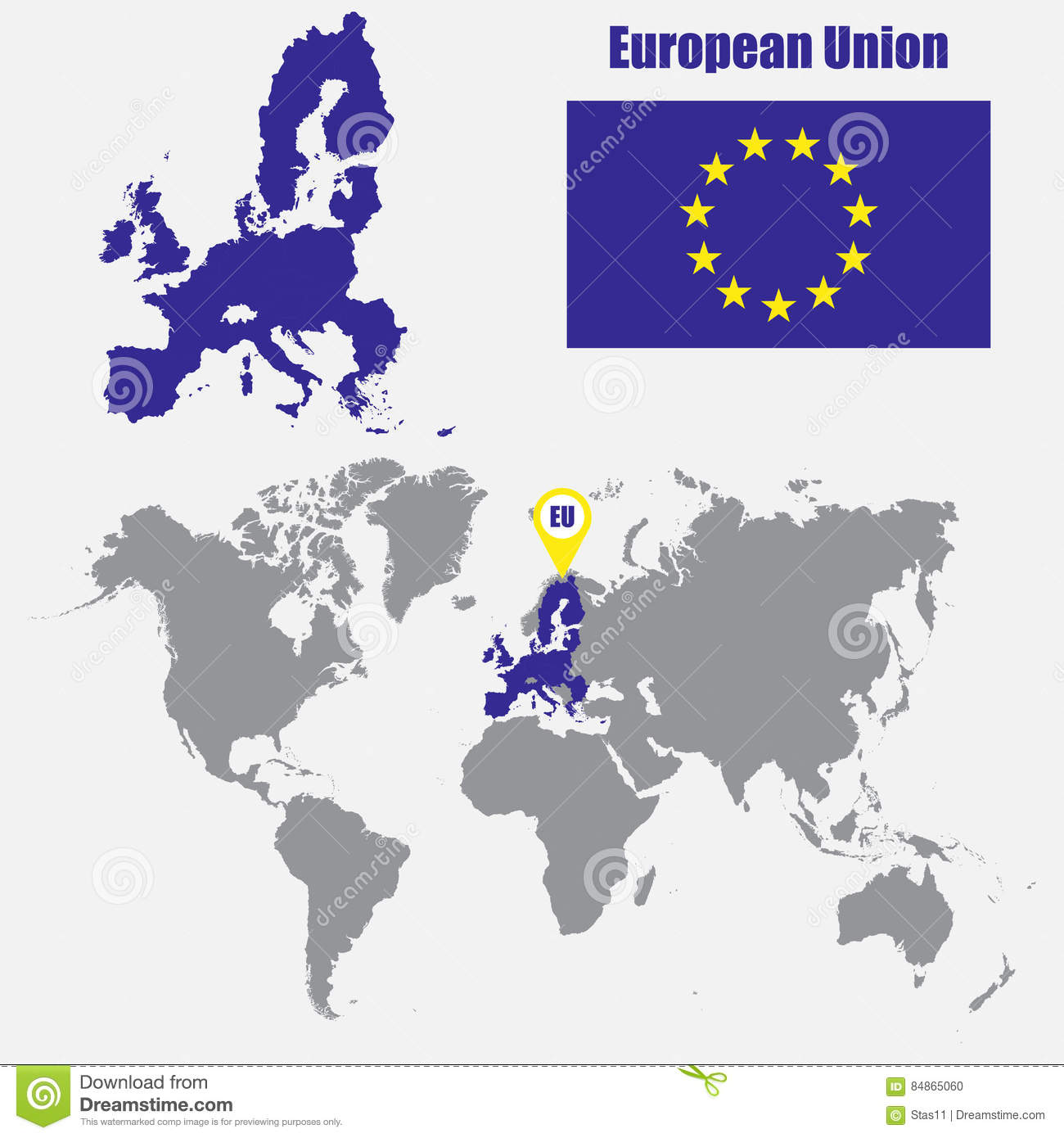 European Union Map On A World Map With Flag And Map Pointer ...