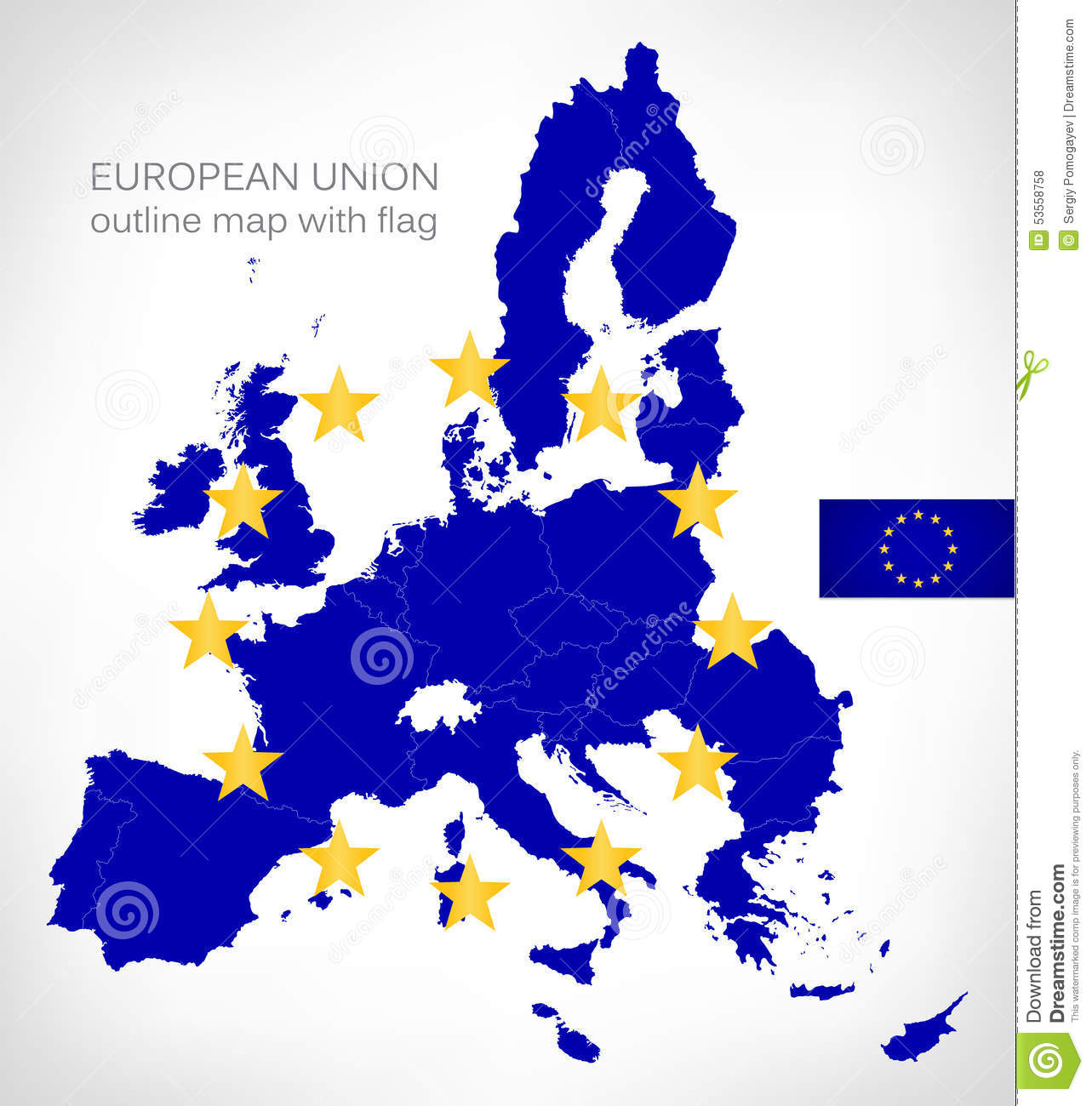 Download European Union Outline Map With EU Flag Stock Vector    Illustration Of Union, Shape