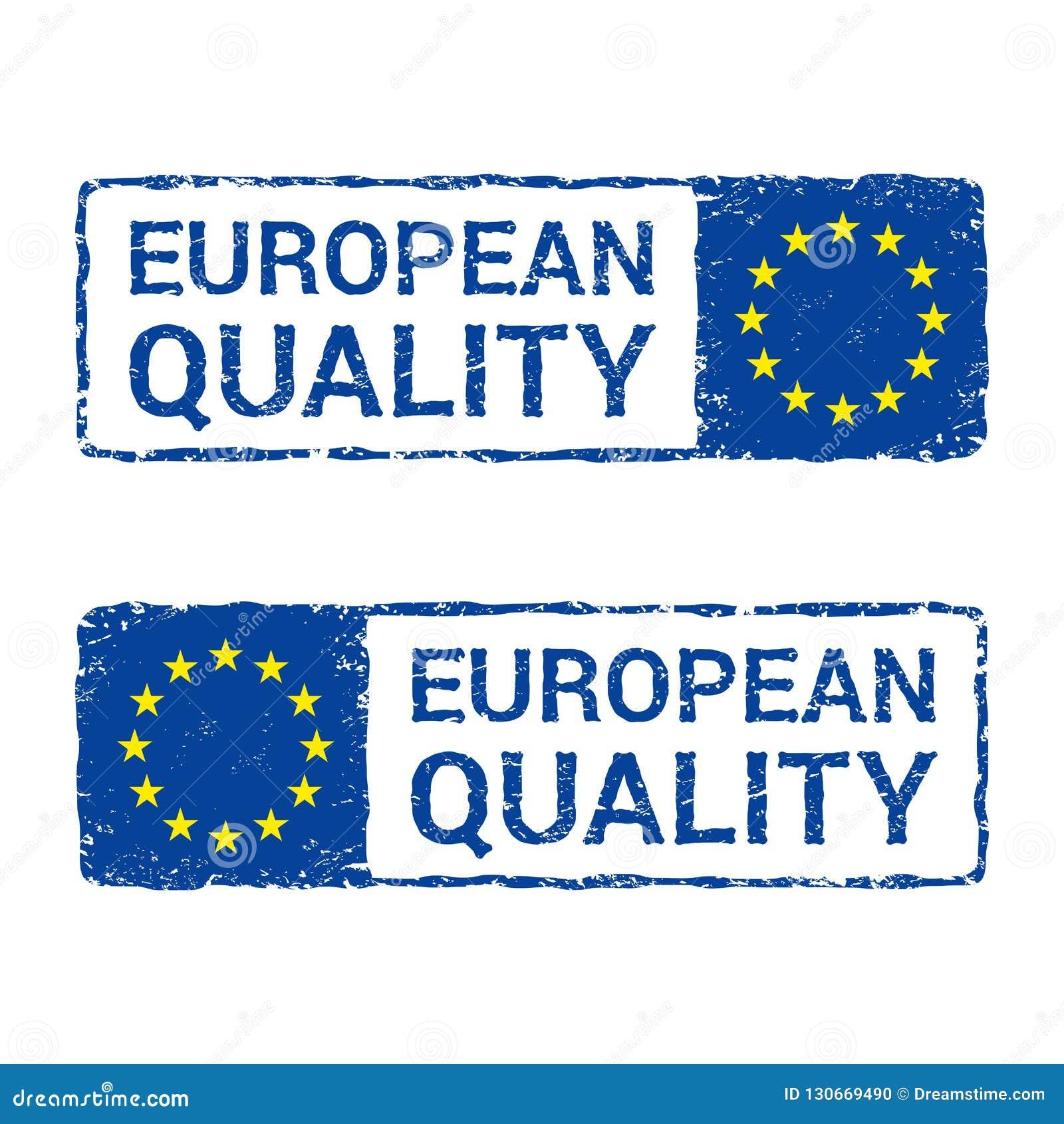 European Union quality, EU vector letter stamp.