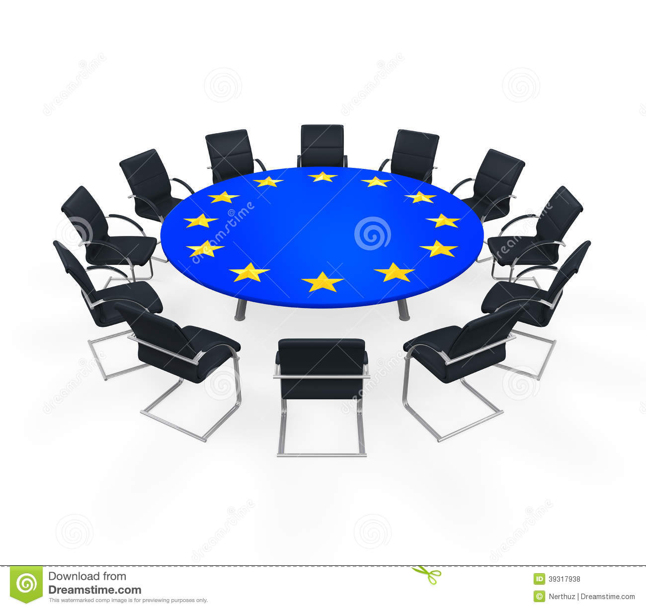 European Union Round Meeting Table Stock Photo - Image ...