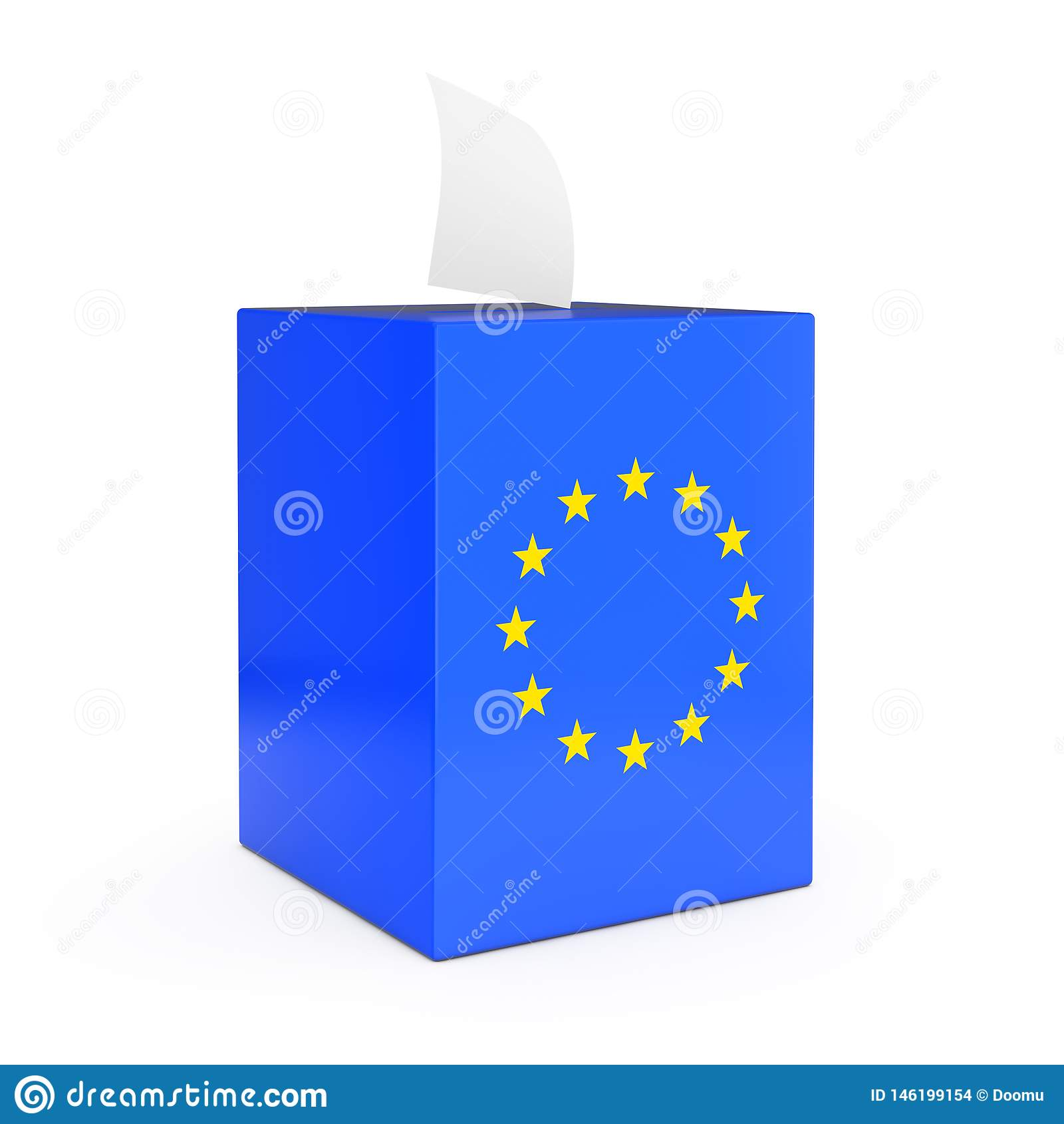 European Union Vote Concept. Vote Paper falls in to Vote Box with European Union Flag. 3d Rendering