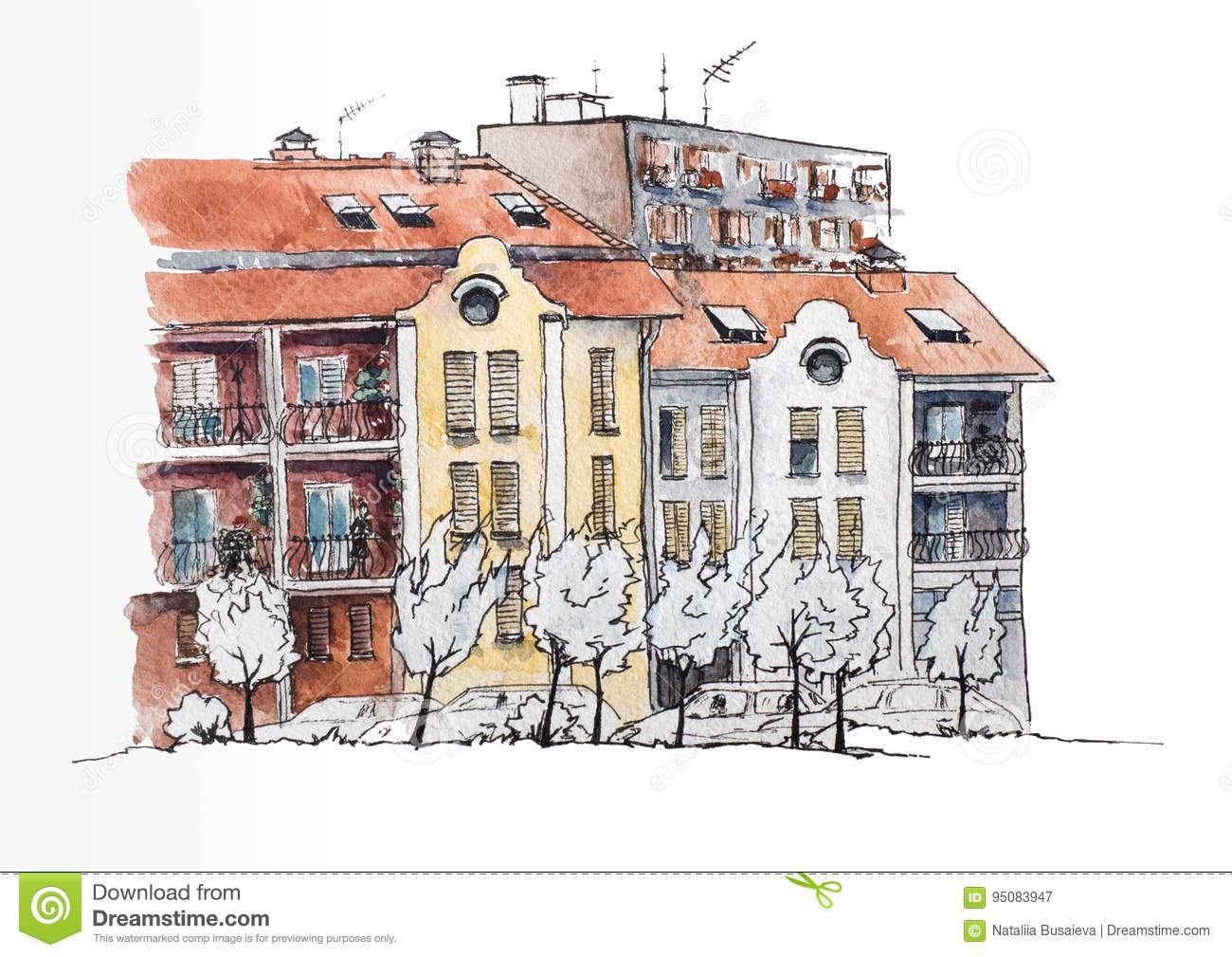 European town with old and modern houses urban view watercolor