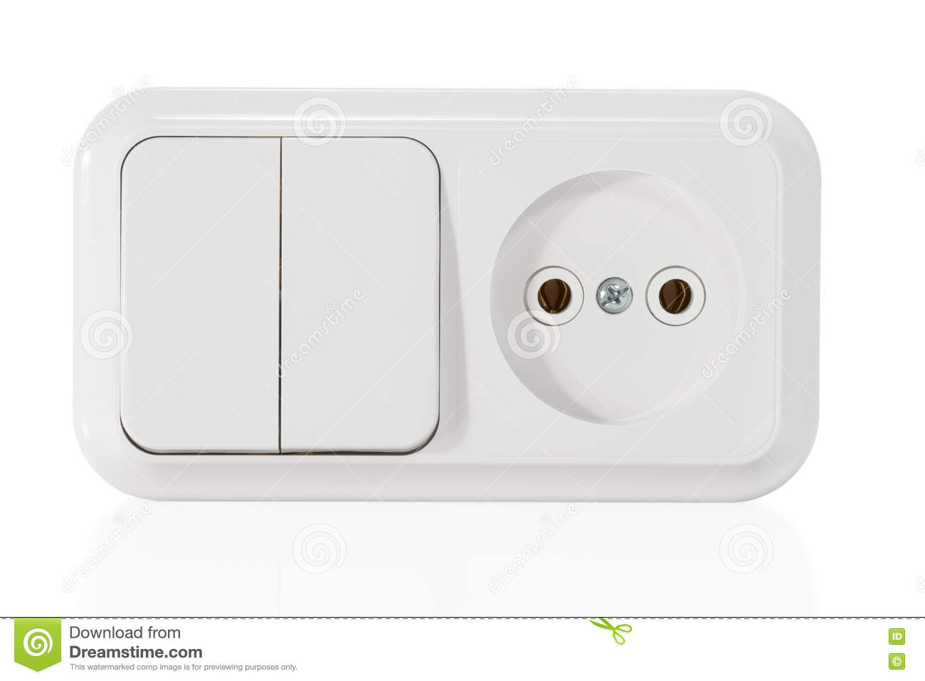 European Wall Outlet With Switches Stock Image - Image of background ...