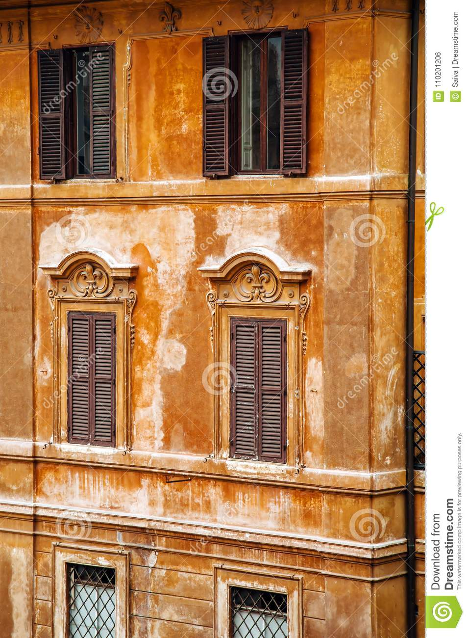 European windows with wooden shutters old house exterior - European exterior window shutters ...