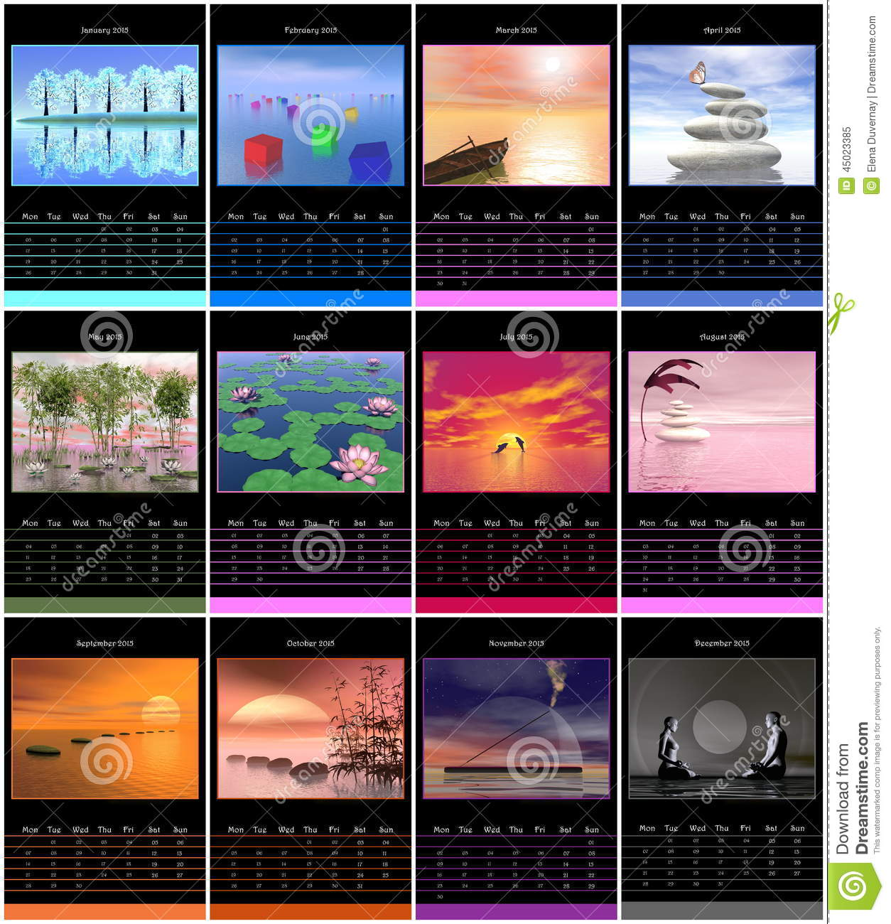 Year Calendar Starting : European year calendar with zen images stock