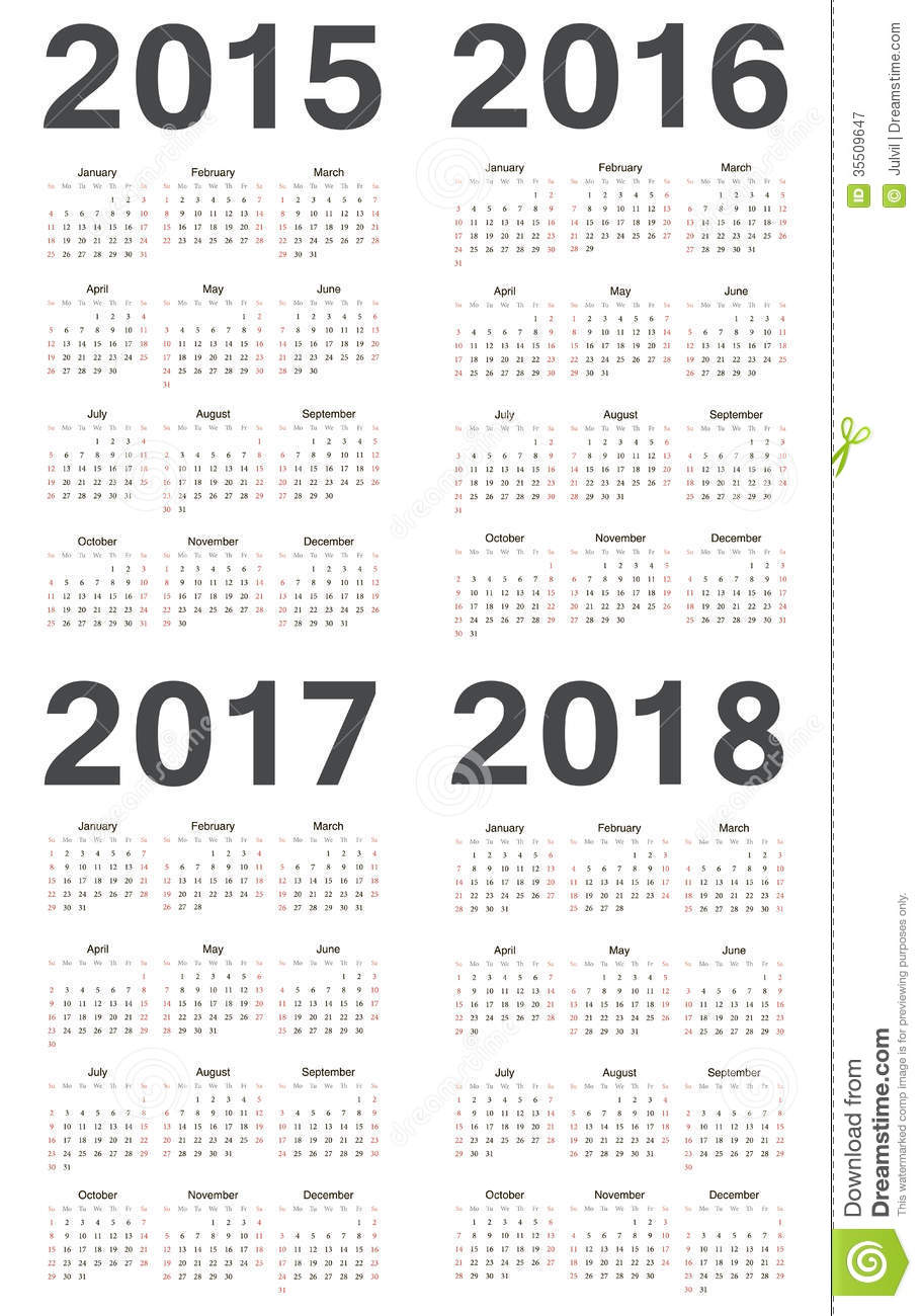 Simple european 2015, 2016, 2017, 2018 year vector calendars. Week ...