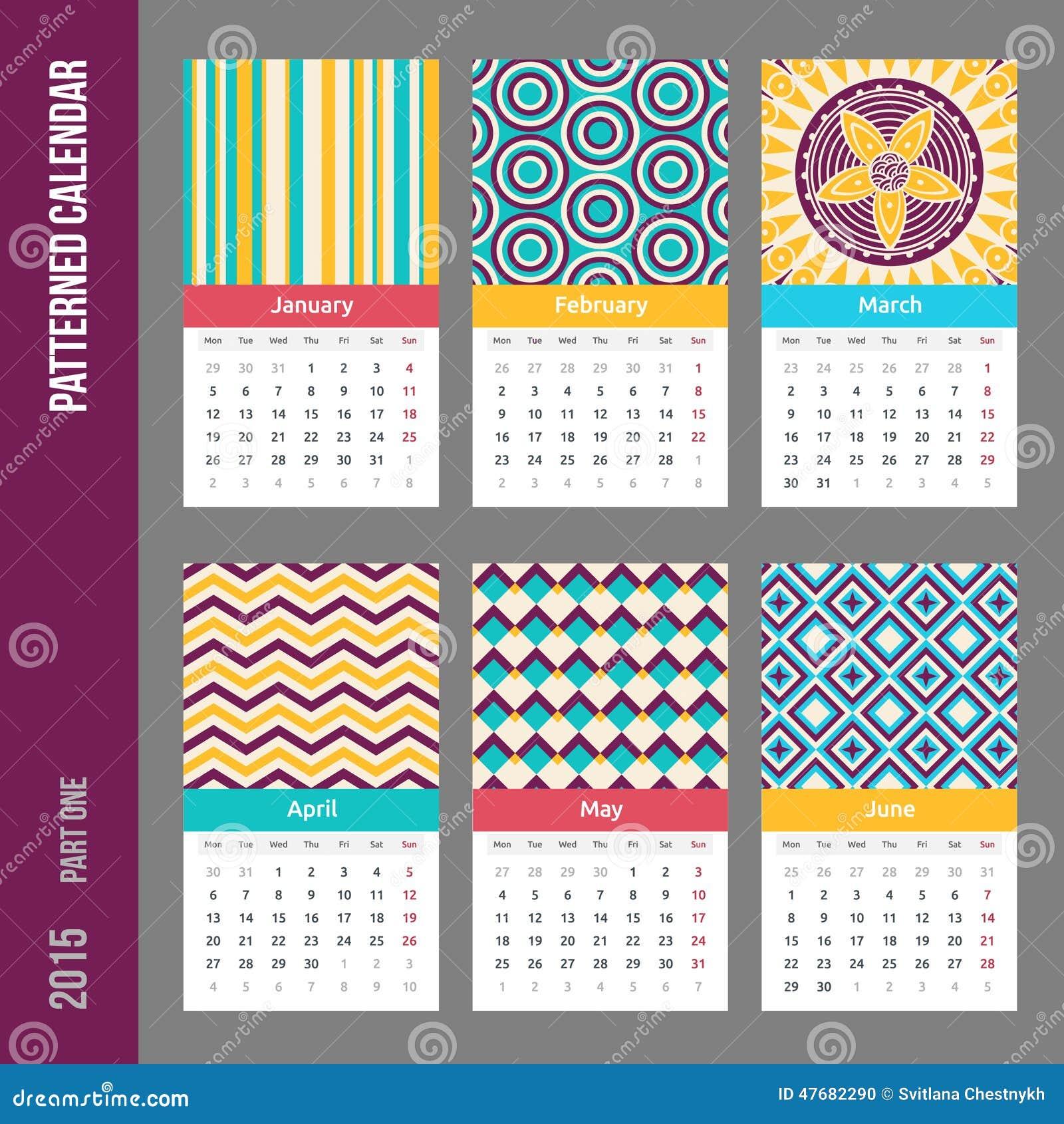 Calendar Design Pattern : European year vector calendar stock image