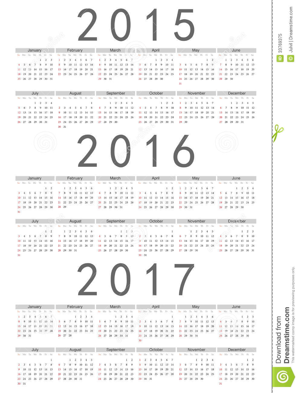 European 2015, 2016, 2017 Year Vector Calendar Royalty Free Stock ...
