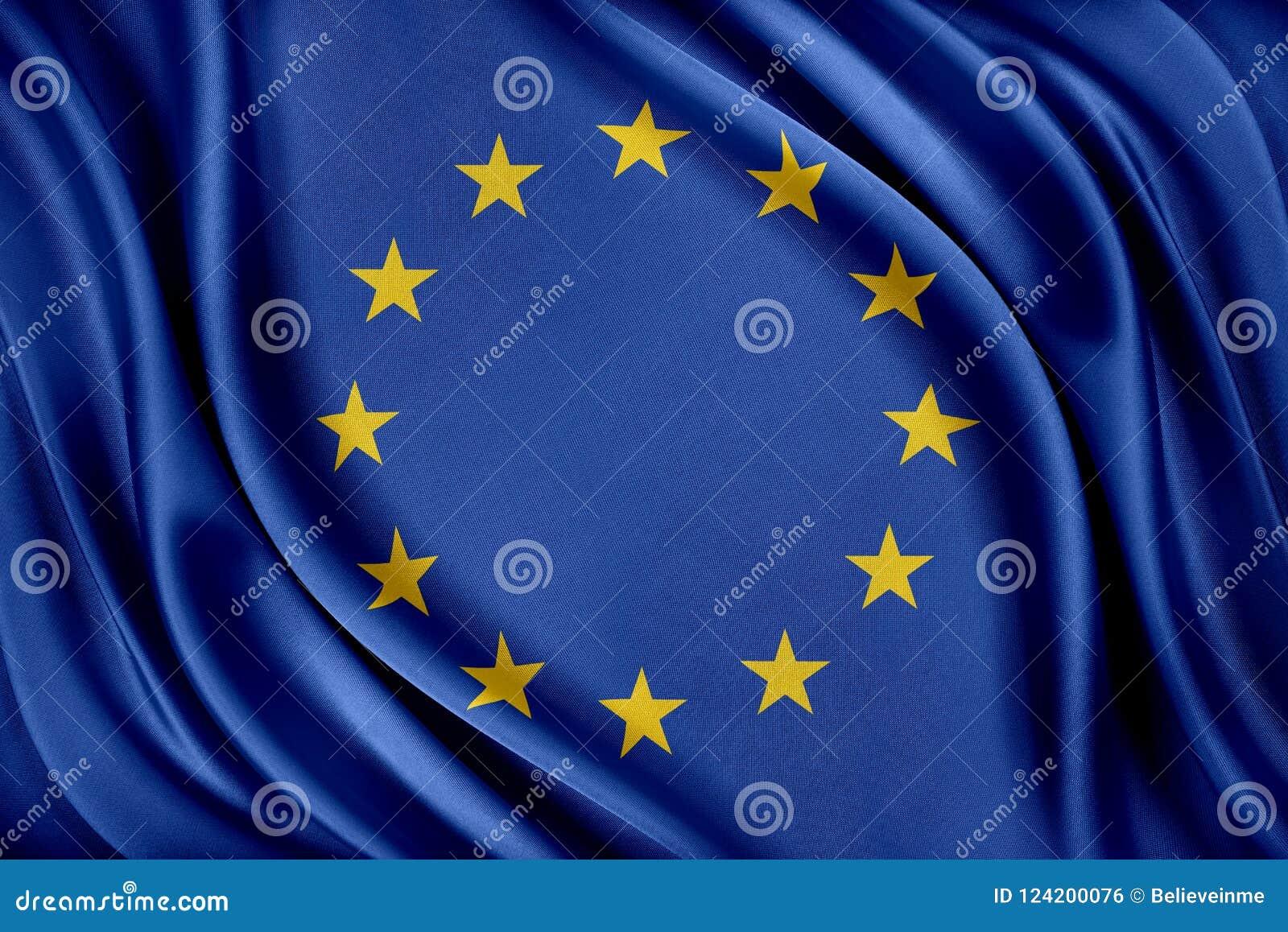 Europeiska union sjunker Flagga med en glansig siden- textur