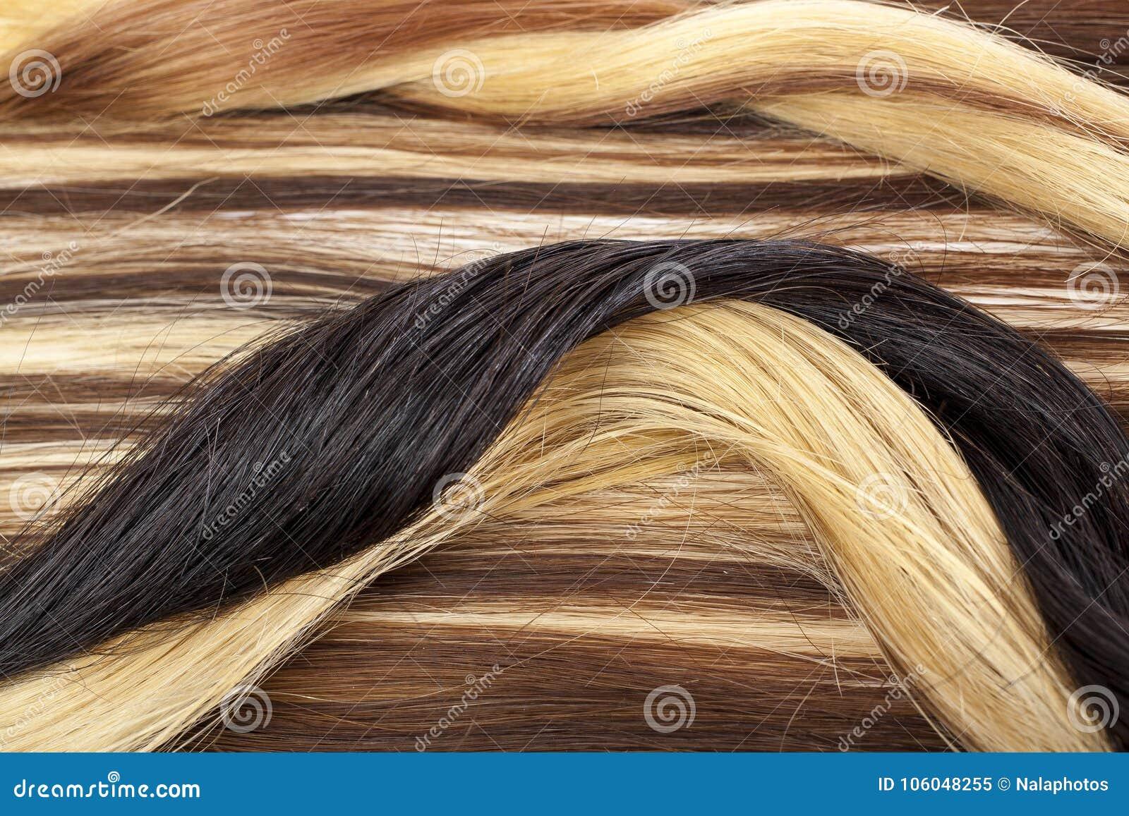 Europeiskt hårinslag för mänskligt hår för hårförlängning Brun för texturcloseup för blont hår modell
