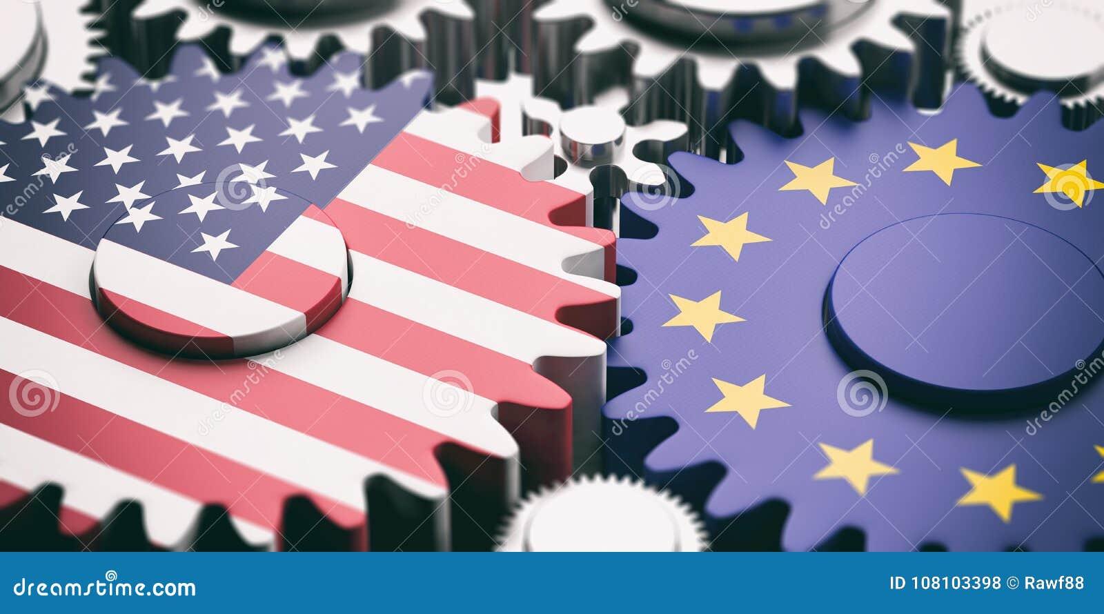 Europejski zjednoczenie i USA Ameryka flaga na metali cogwheels ilustracja 3 d