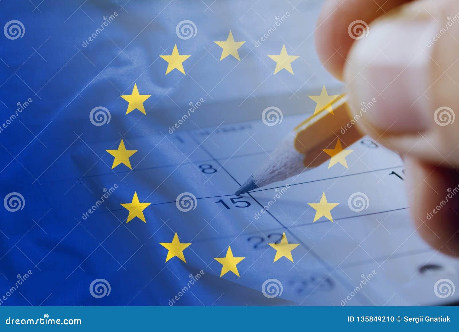 Europese Unie vlag en kalenderdatum vijftiende