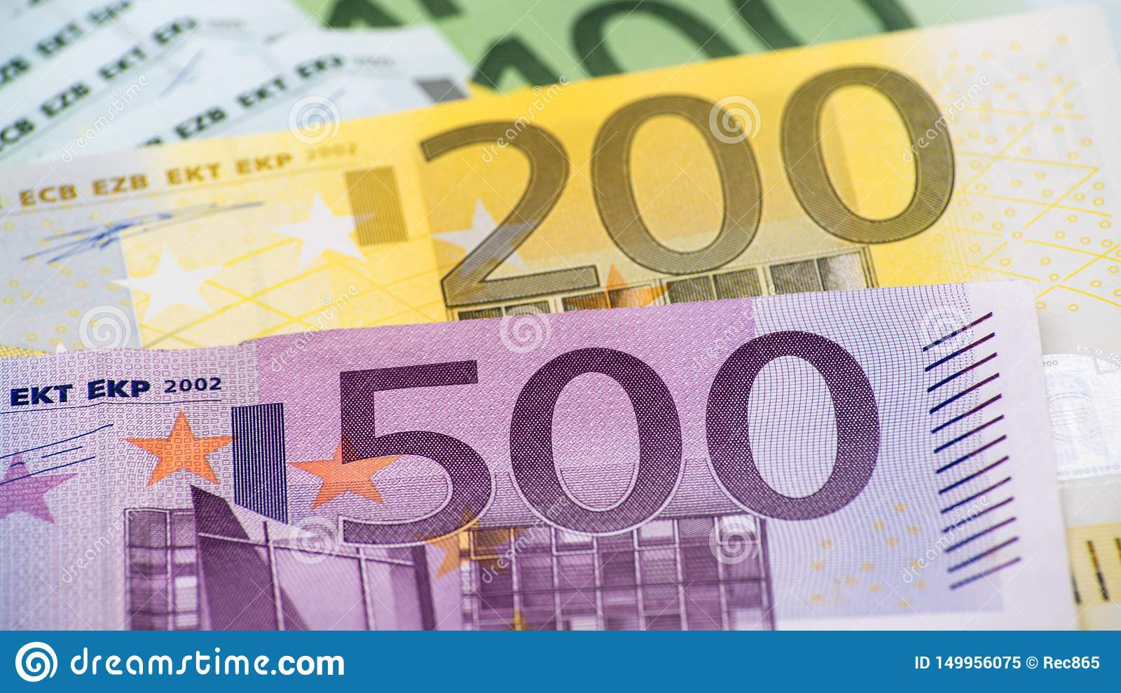 Euroräkningar av olika värden Euroräkning av femhundra