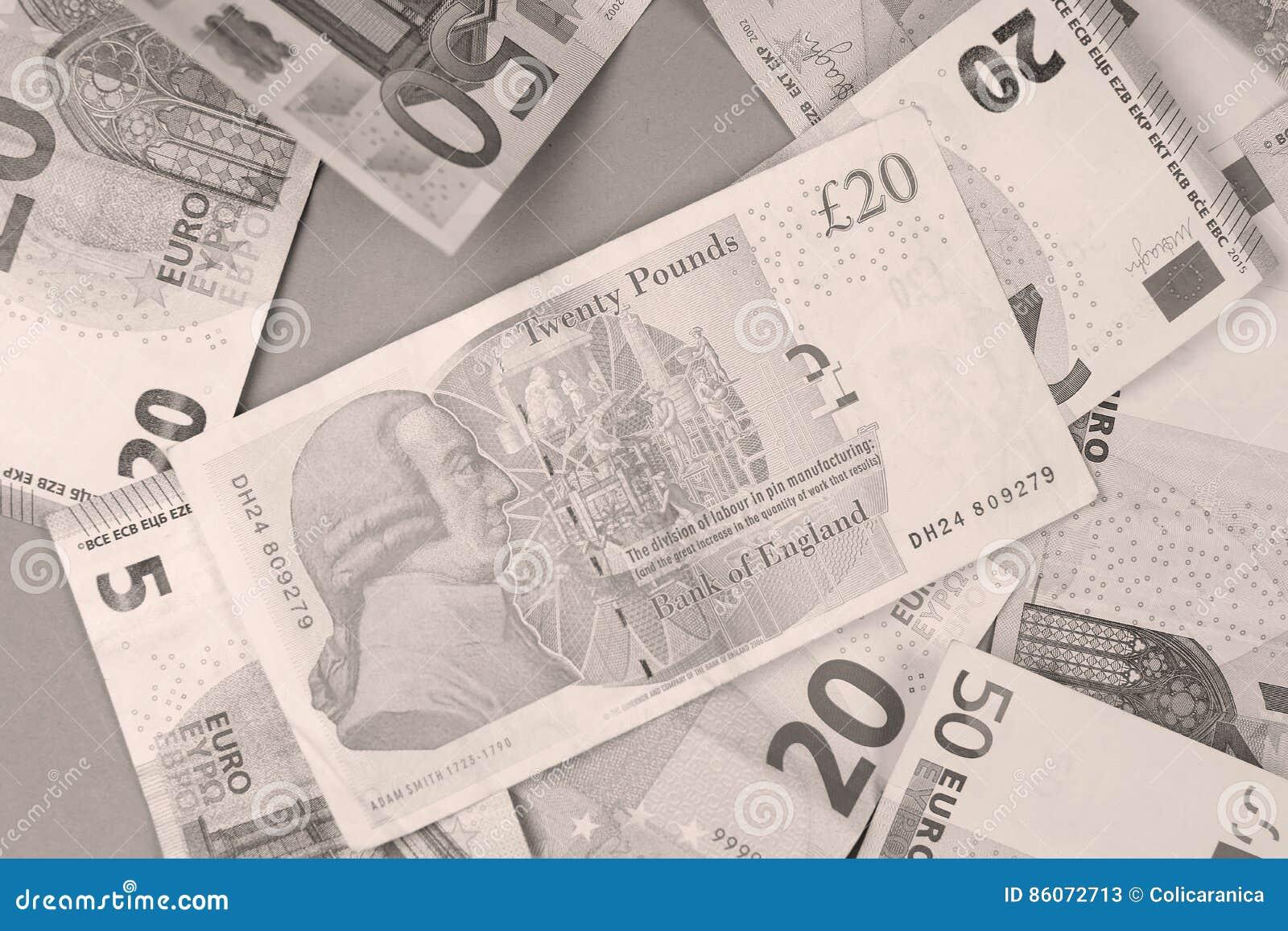 Euros e libras do fundo