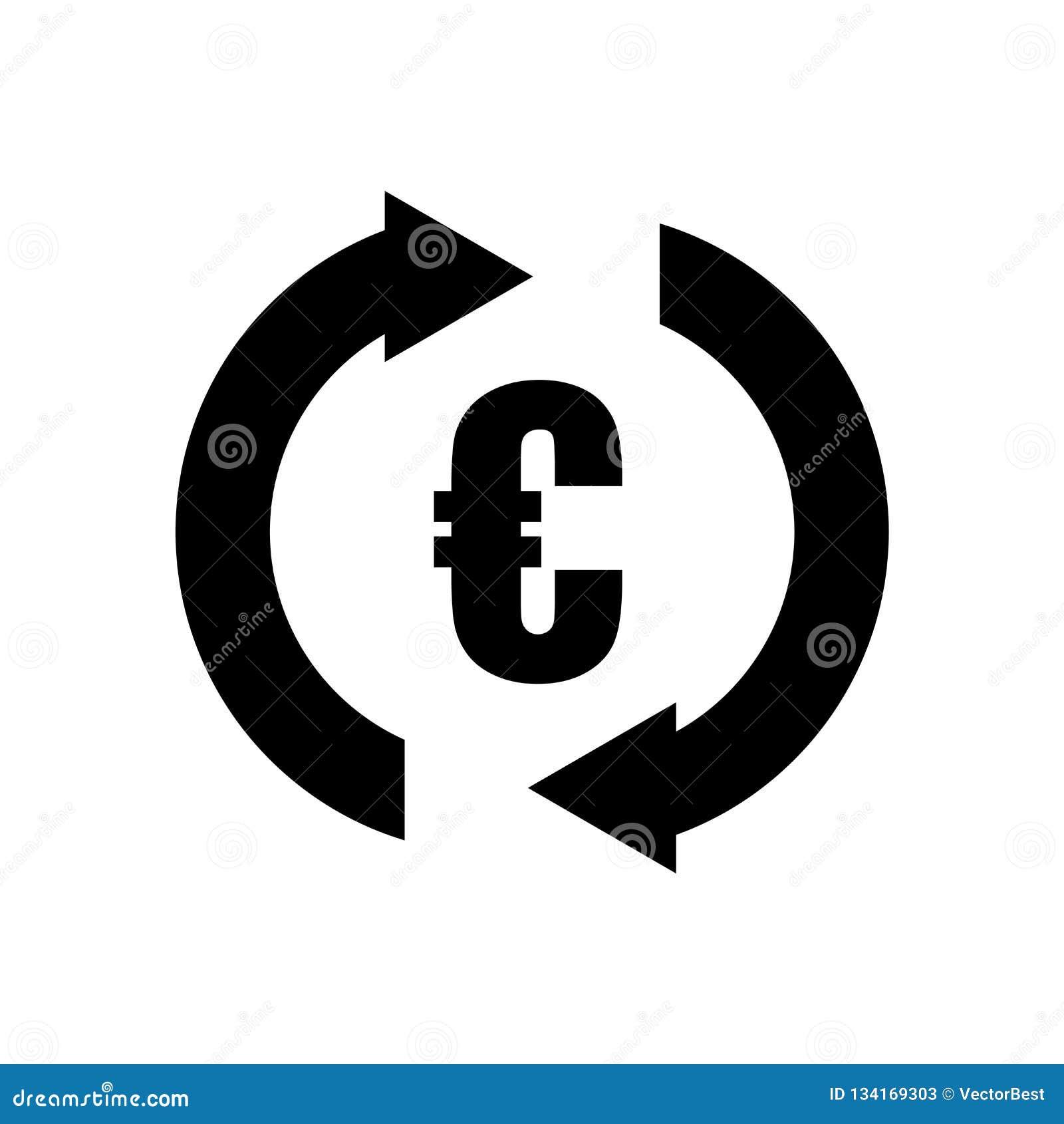 Eurovalutatecken i moturs tecken för vektor för pilcirkelsymbol och symbol som isoleras på vit bakgrund, eurovalutatecken