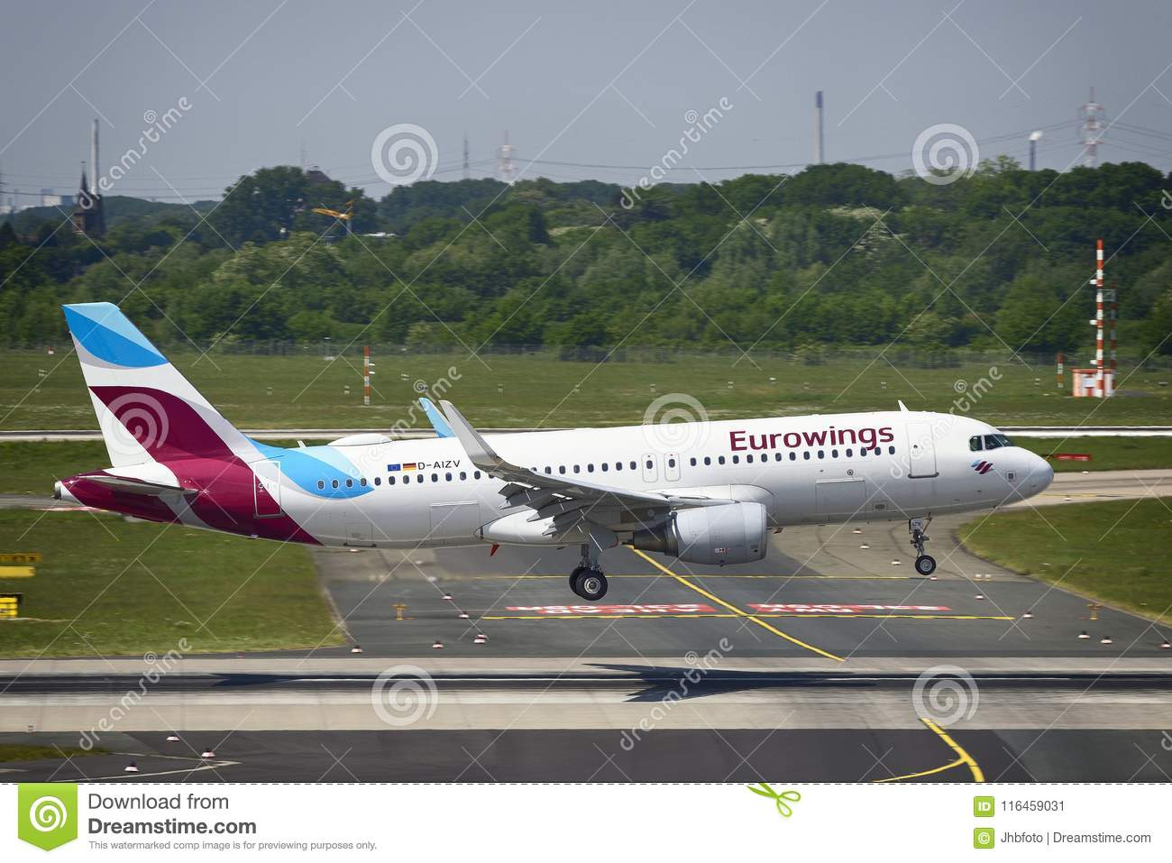 Eurowings Airbus A320 Landing Editorial Photo - Image of